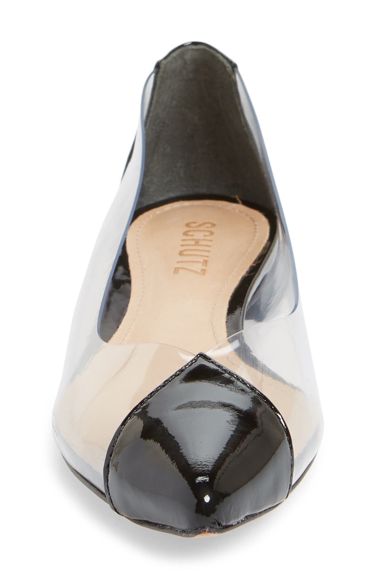 Clearly Pointy Toe Flat,                             Alternate thumbnail 4, color,                             BLACK PATENT