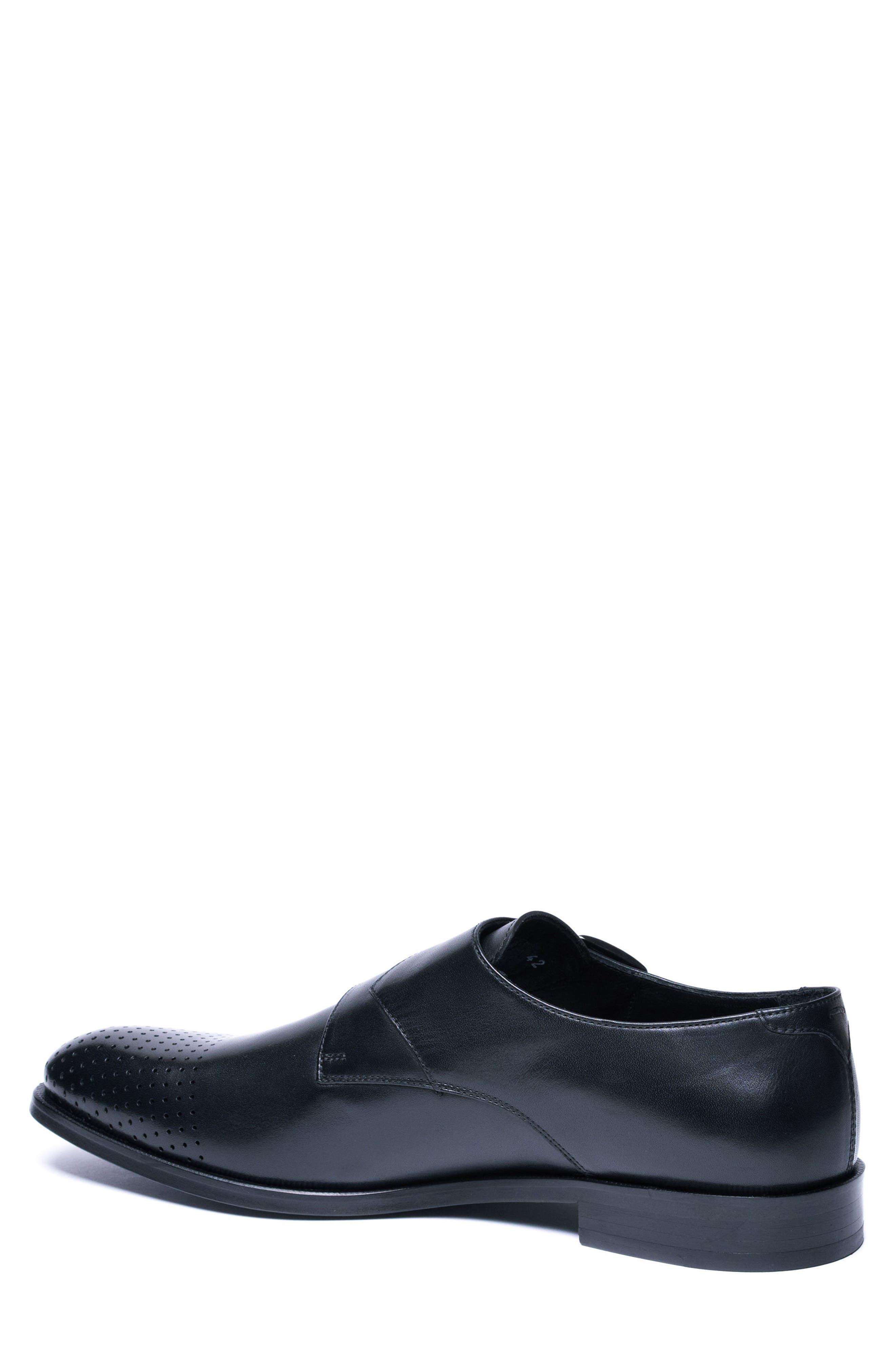 Double Buckle Monk Shoe,                             Alternate thumbnail 2, color,                             BLACK LEATHER