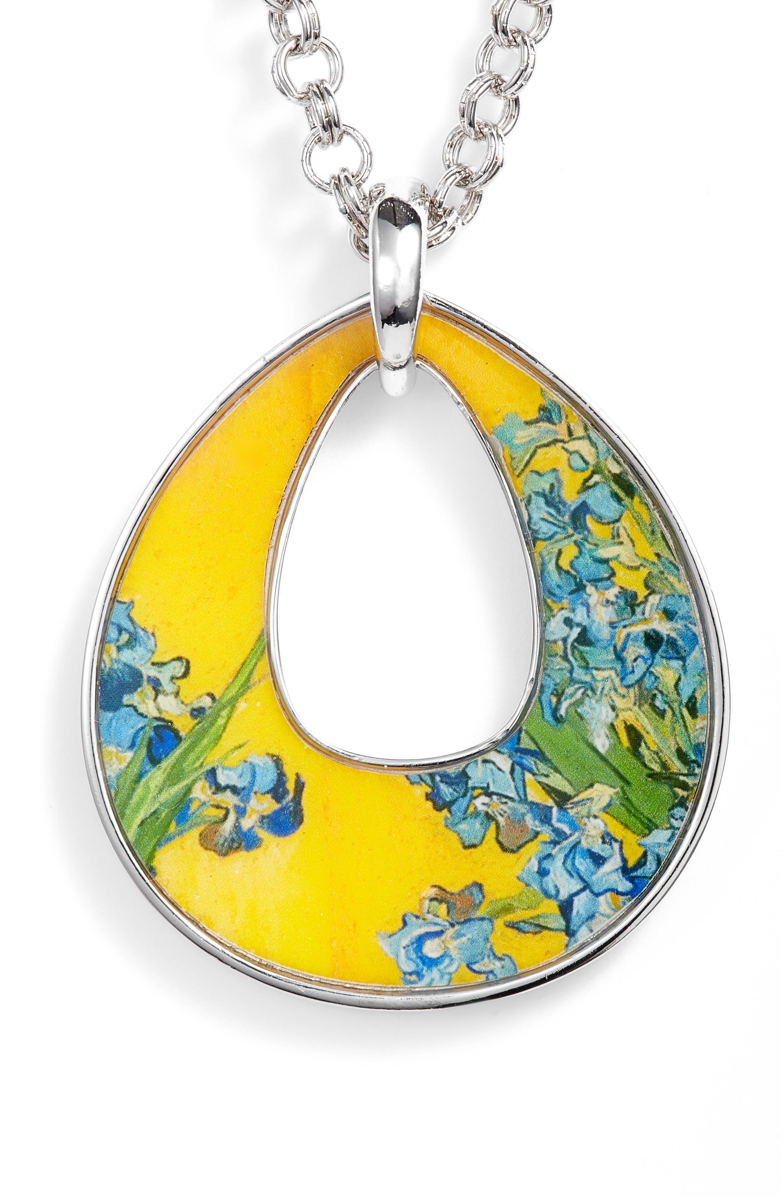 Silvertone Irises Open Teardrop Pendant Necklace,                         Main,                         color, MULTI