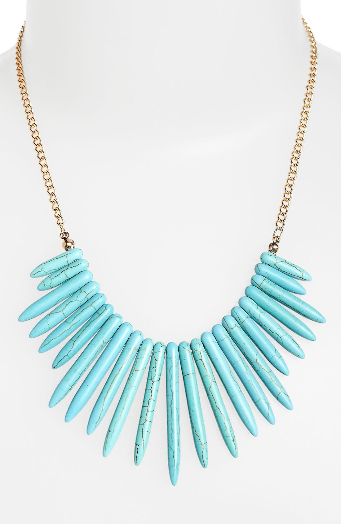 Faux Turquoise Spike Statement Necklace,                             Main thumbnail 1, color,                             440