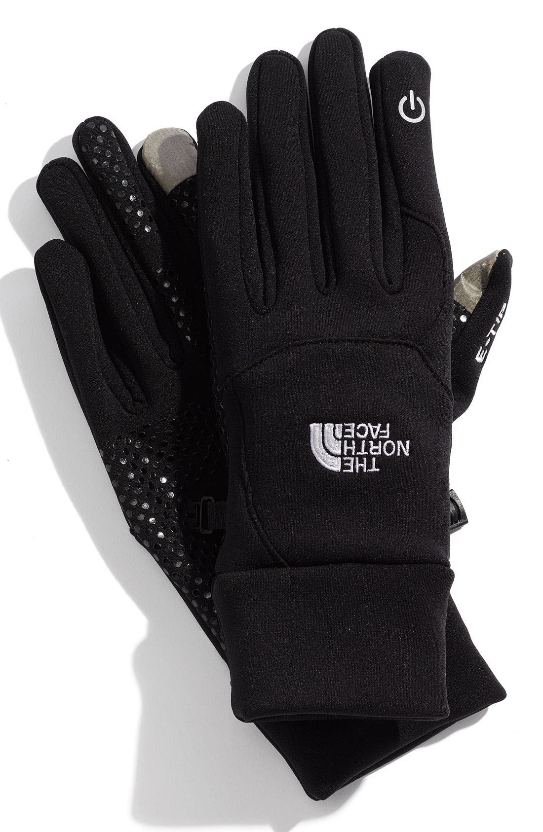 THE NORTH FACE,                             E-Tip Gloves,                             Main thumbnail 1, color,                             001