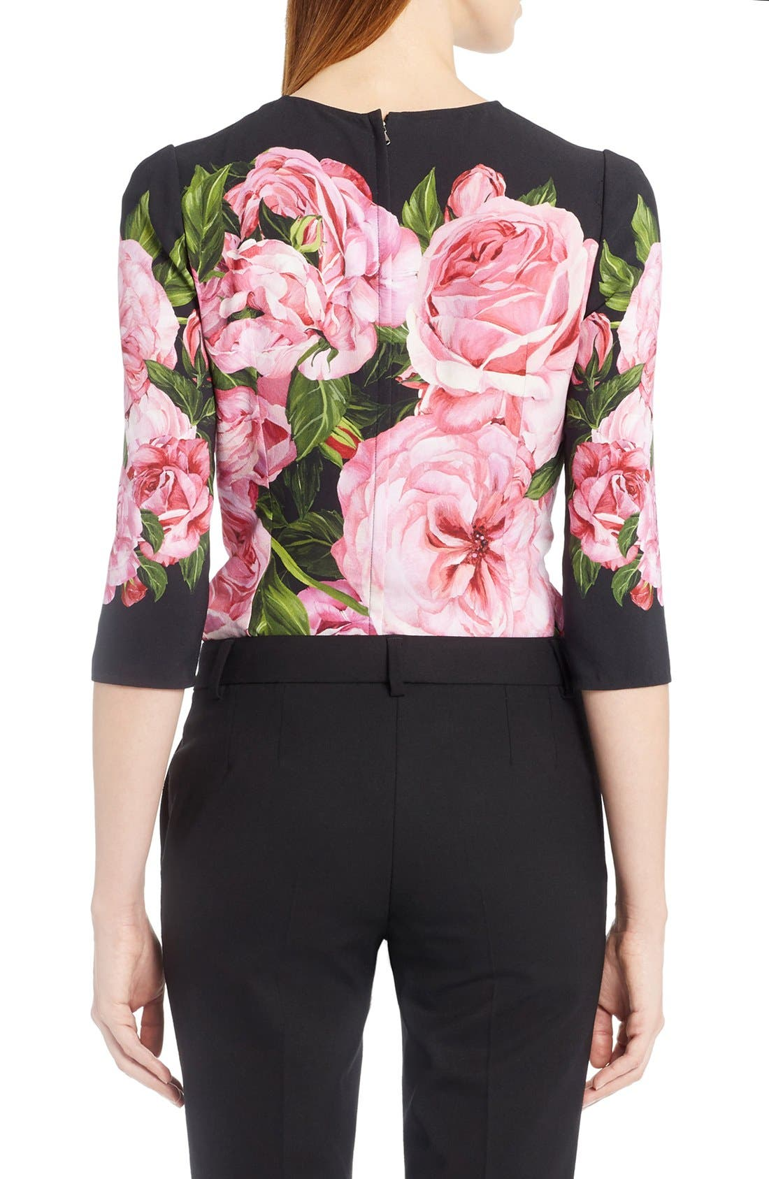 Rose Print Cady Top,                             Alternate thumbnail 2, color,                             650