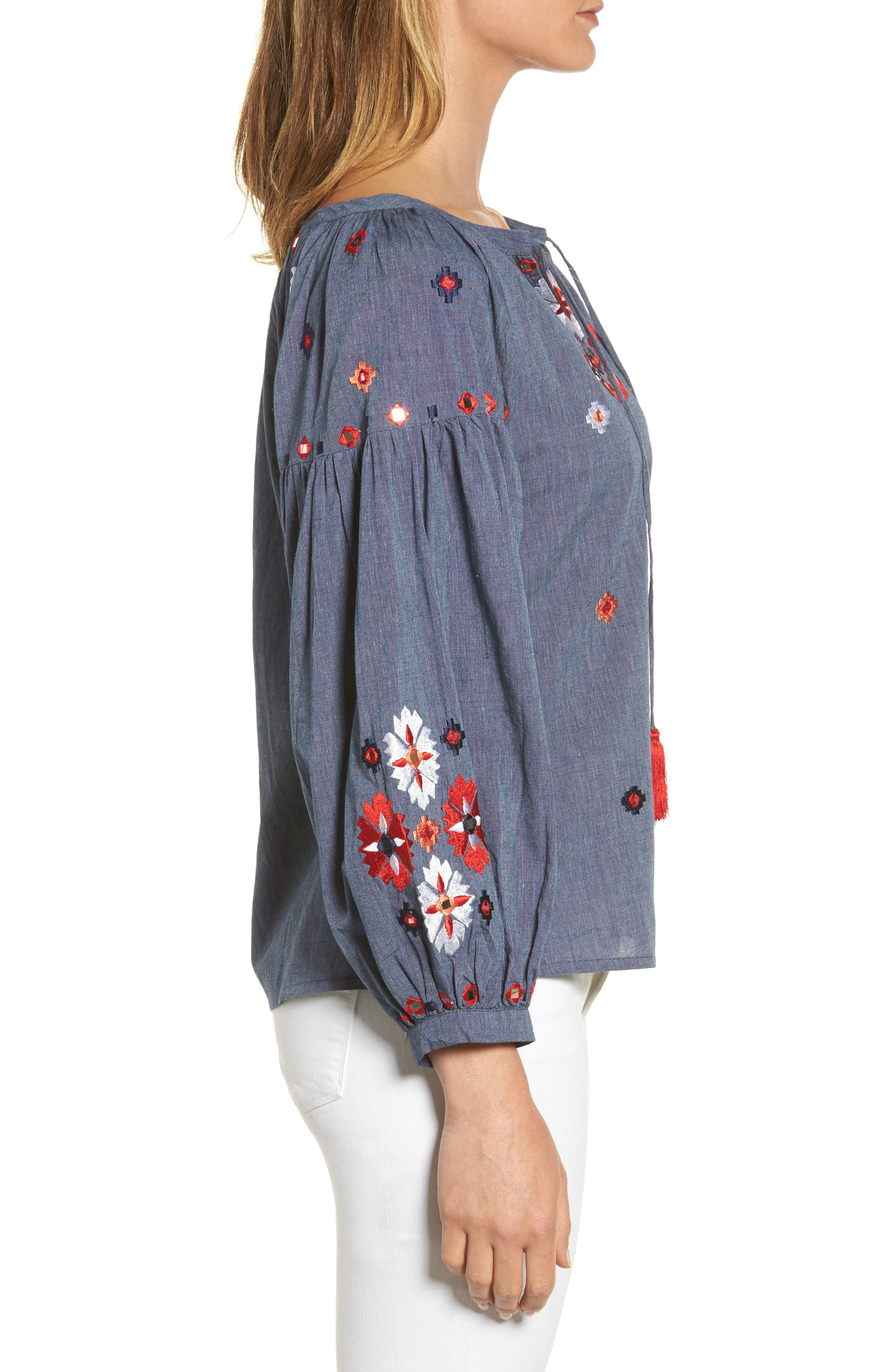 Elora Embroidered Chambray Top,                             Alternate thumbnail 3, color,                             DENIM