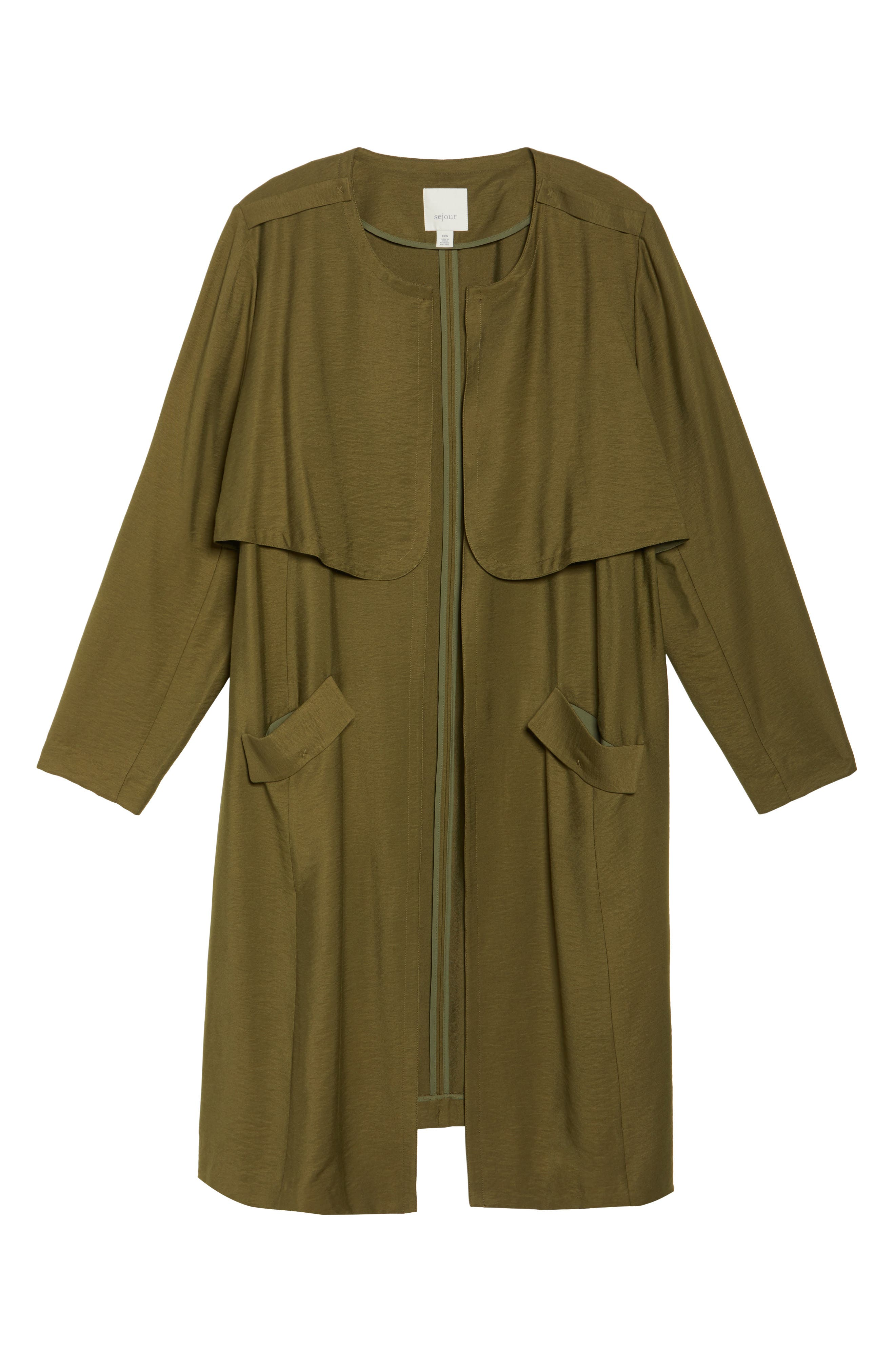 Long Open Front Trench Coat,                             Alternate thumbnail 17, color,