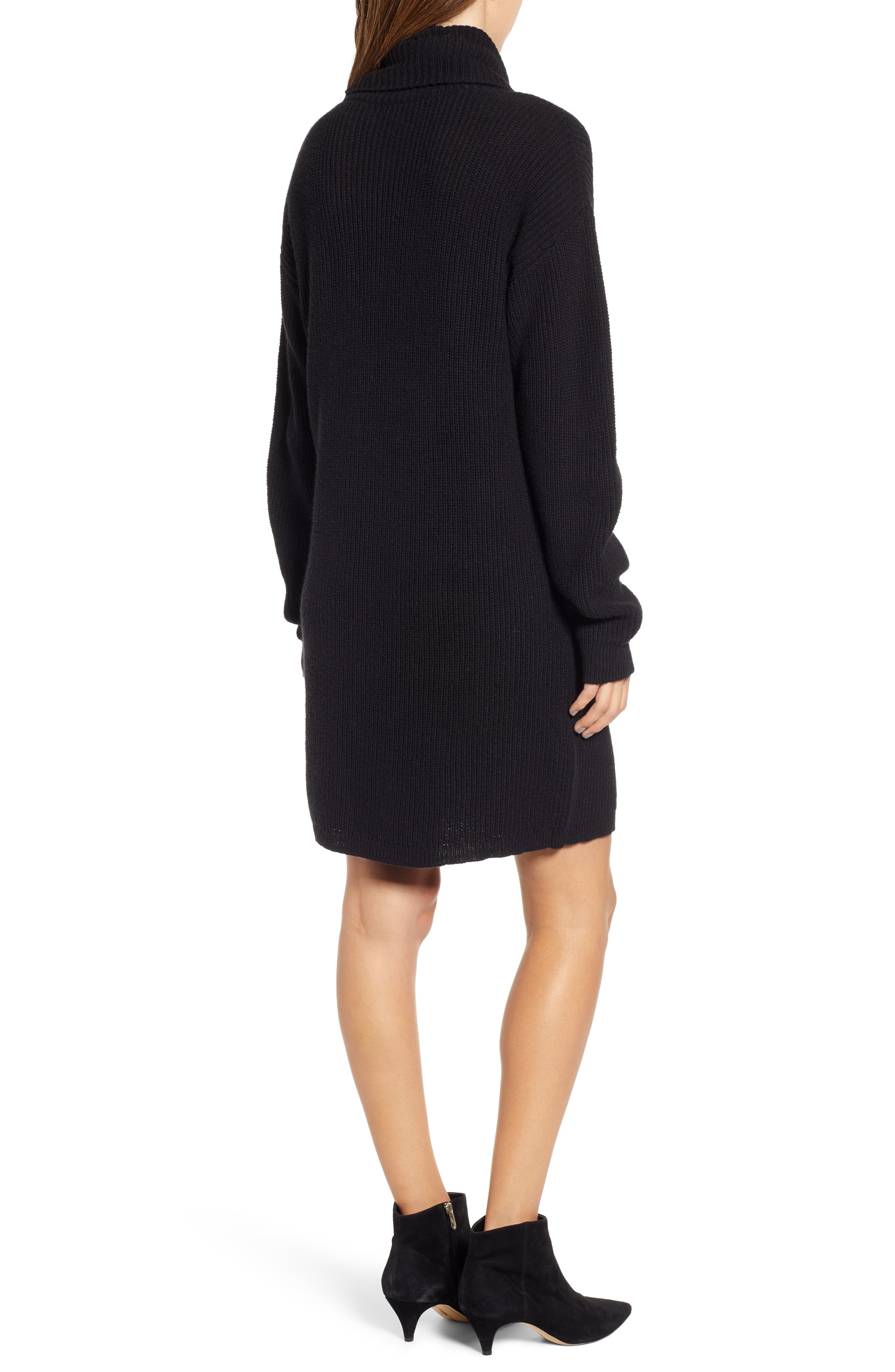BP.,                             Cowl Neck Sweater Dress,                             Alternate thumbnail 2, color,                             001