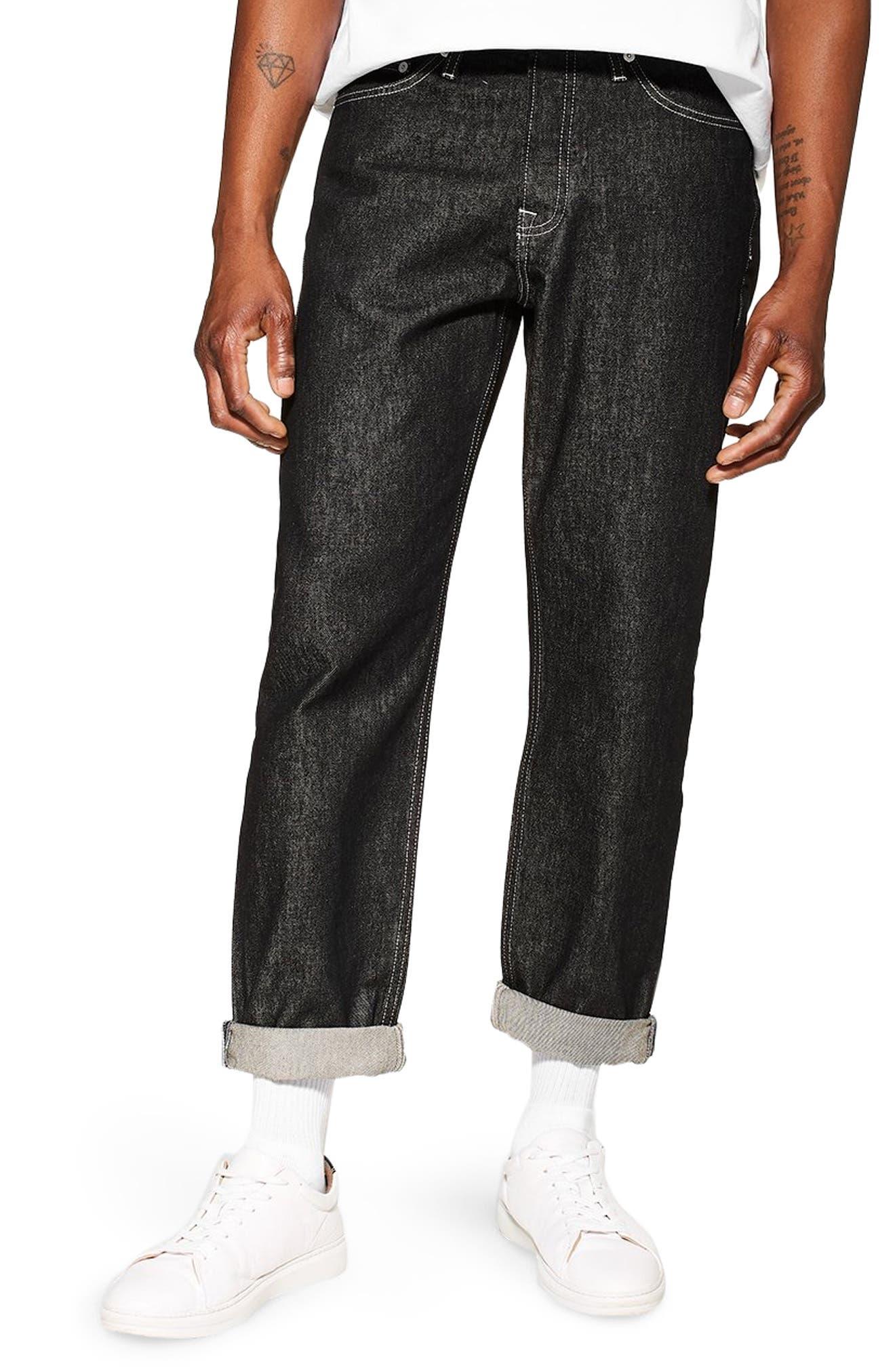 TOPMAN Original Fit Jeans, Main, color, BLACK