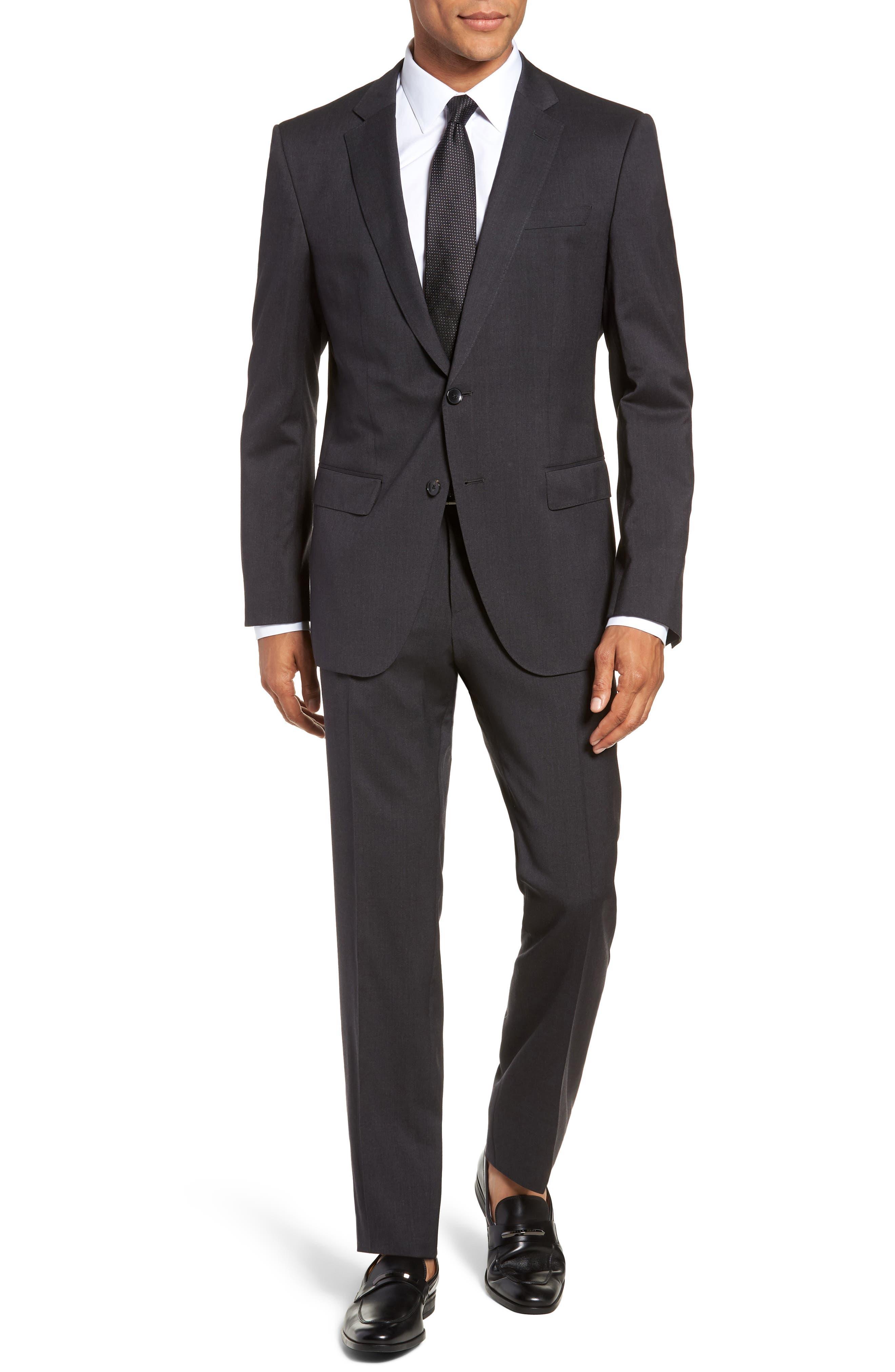 Huge/Genius Trim Fit Solid Wool Suit,                             Main thumbnail 1, color,                             DARK GREY