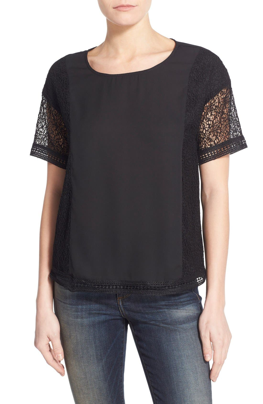 Lace Inset Short Sleeve Top,                         Main,                         color, 001