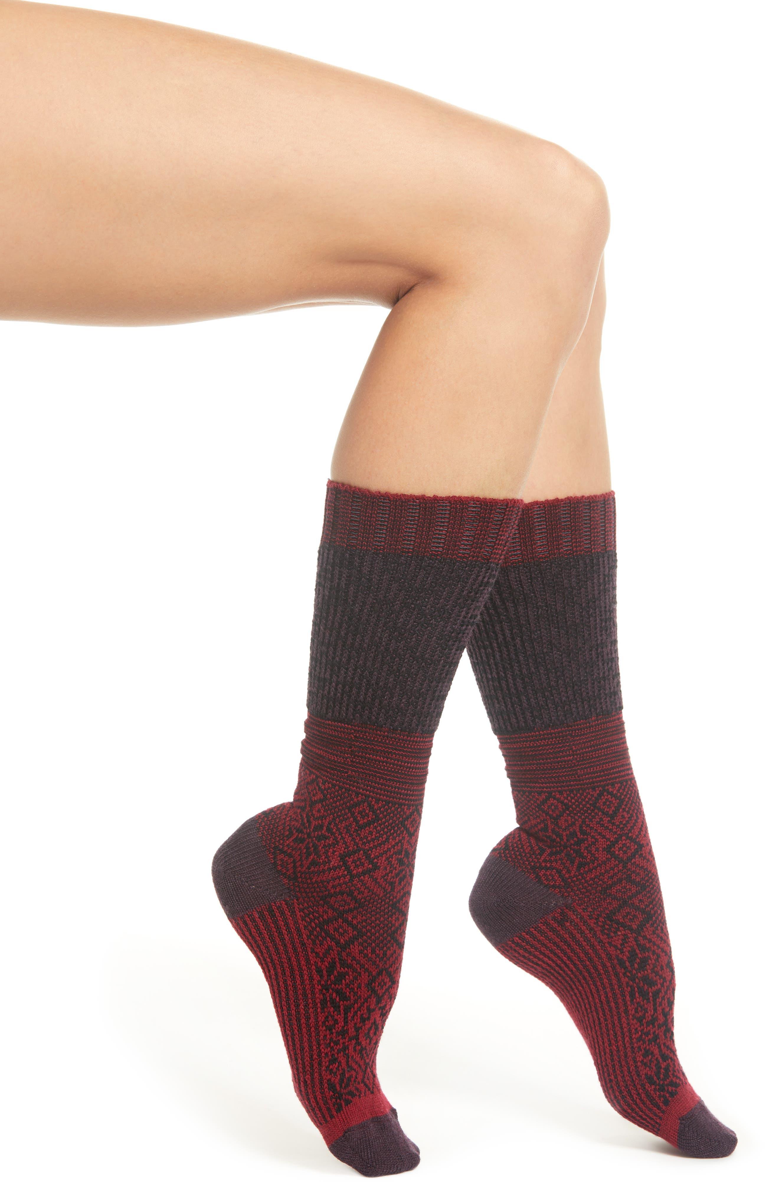 Snowflake Flurry Merino Wool Blend Socks,                             Main thumbnail 1, color,                             TIBETAN RED HEATHER