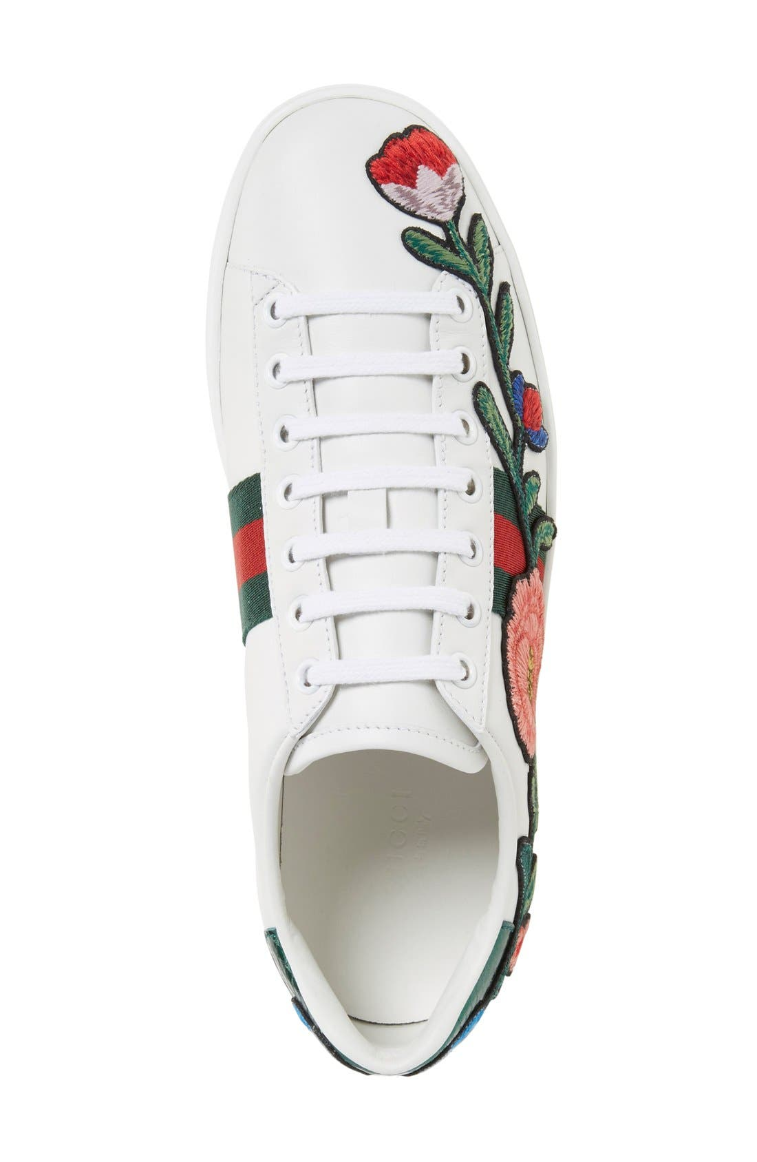 'New Ace' Low Top Sneaker,                             Alternate thumbnail 3, color,                             WHITE FLORAL