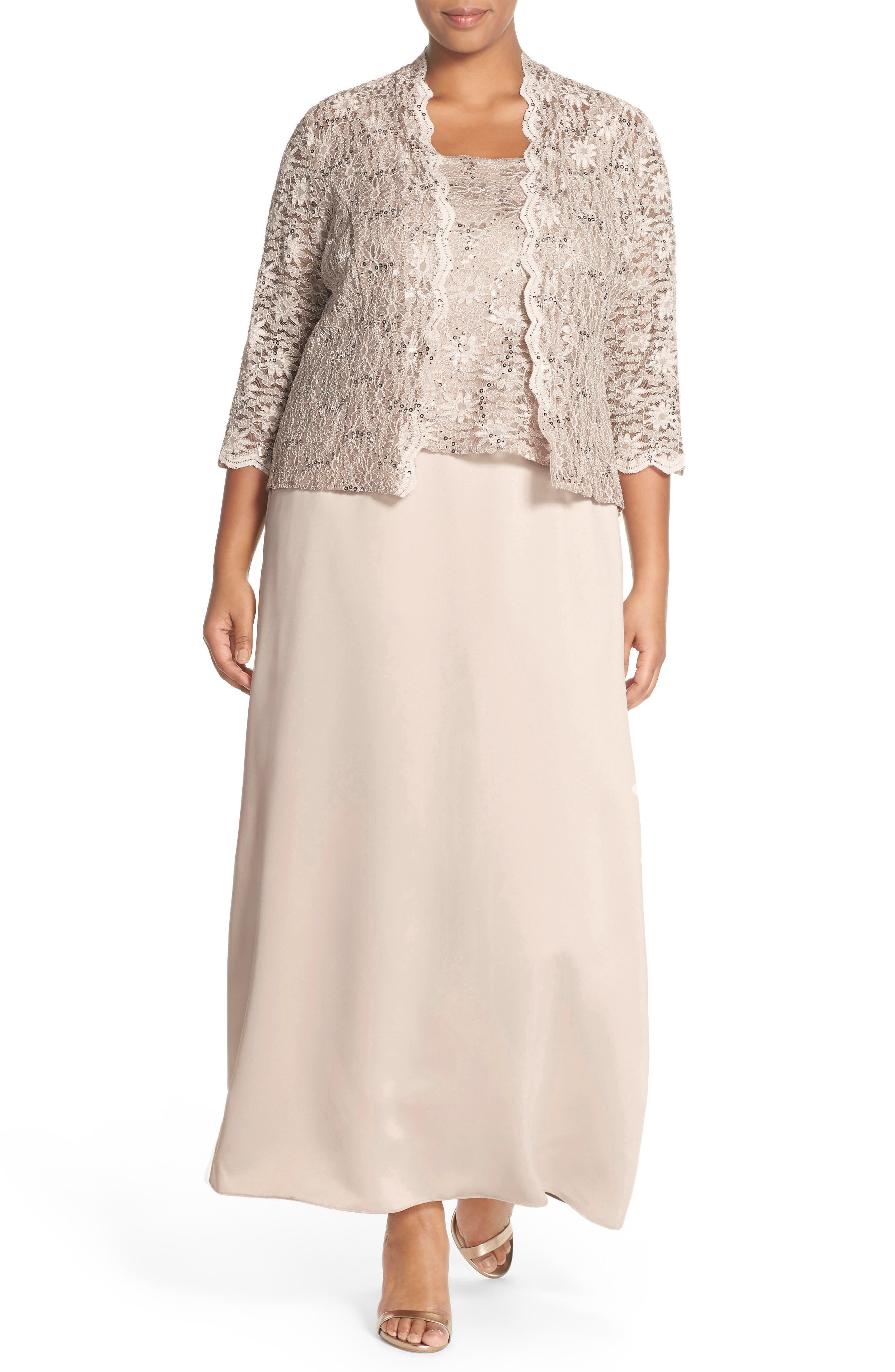 Alex Evening A-Line Gown & Lace Jacket,                             Alternate thumbnail 7, color,
