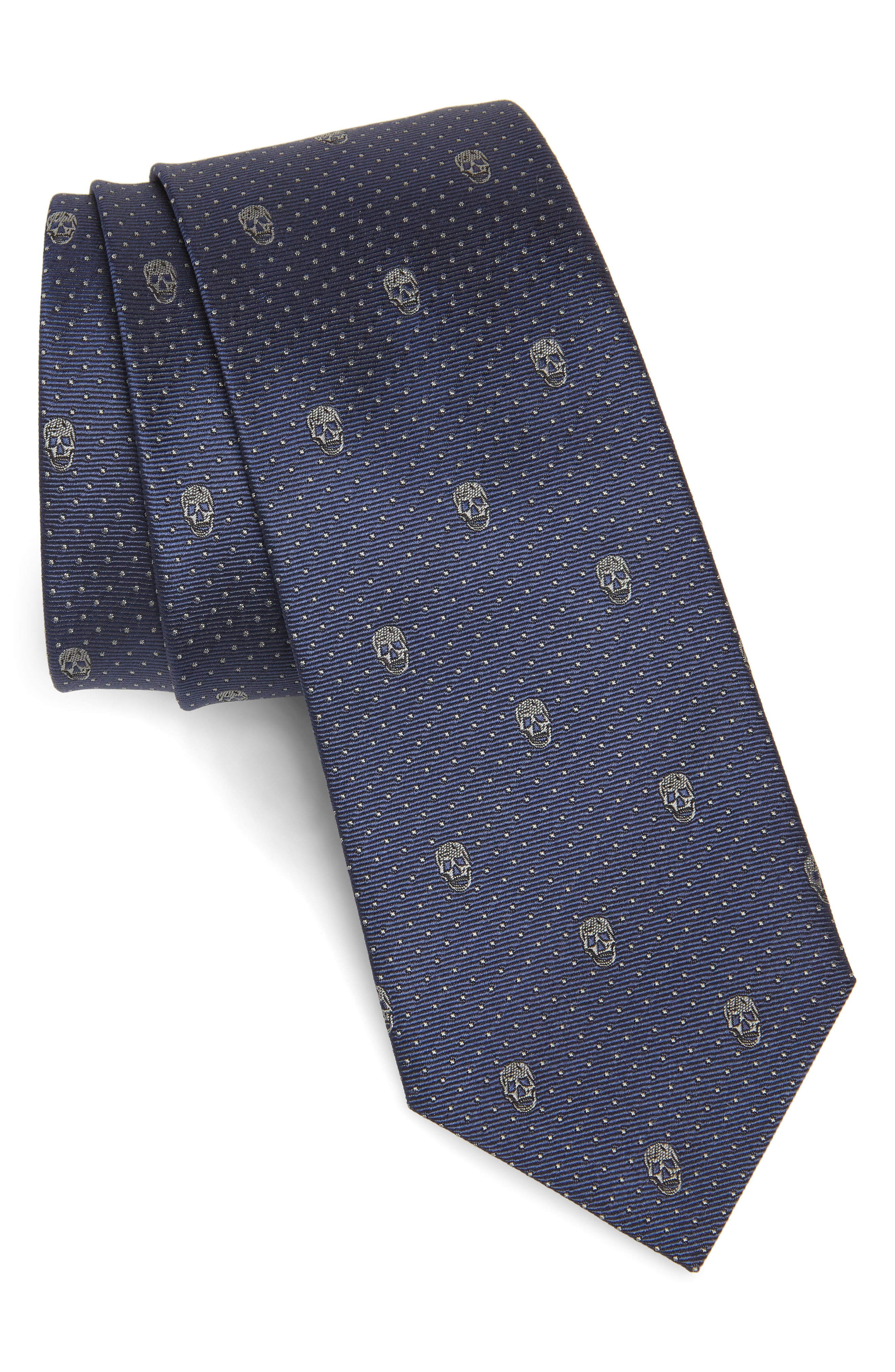 Skull Silk Tie, Main, color, MIDNIGHT BLUE AND GREY