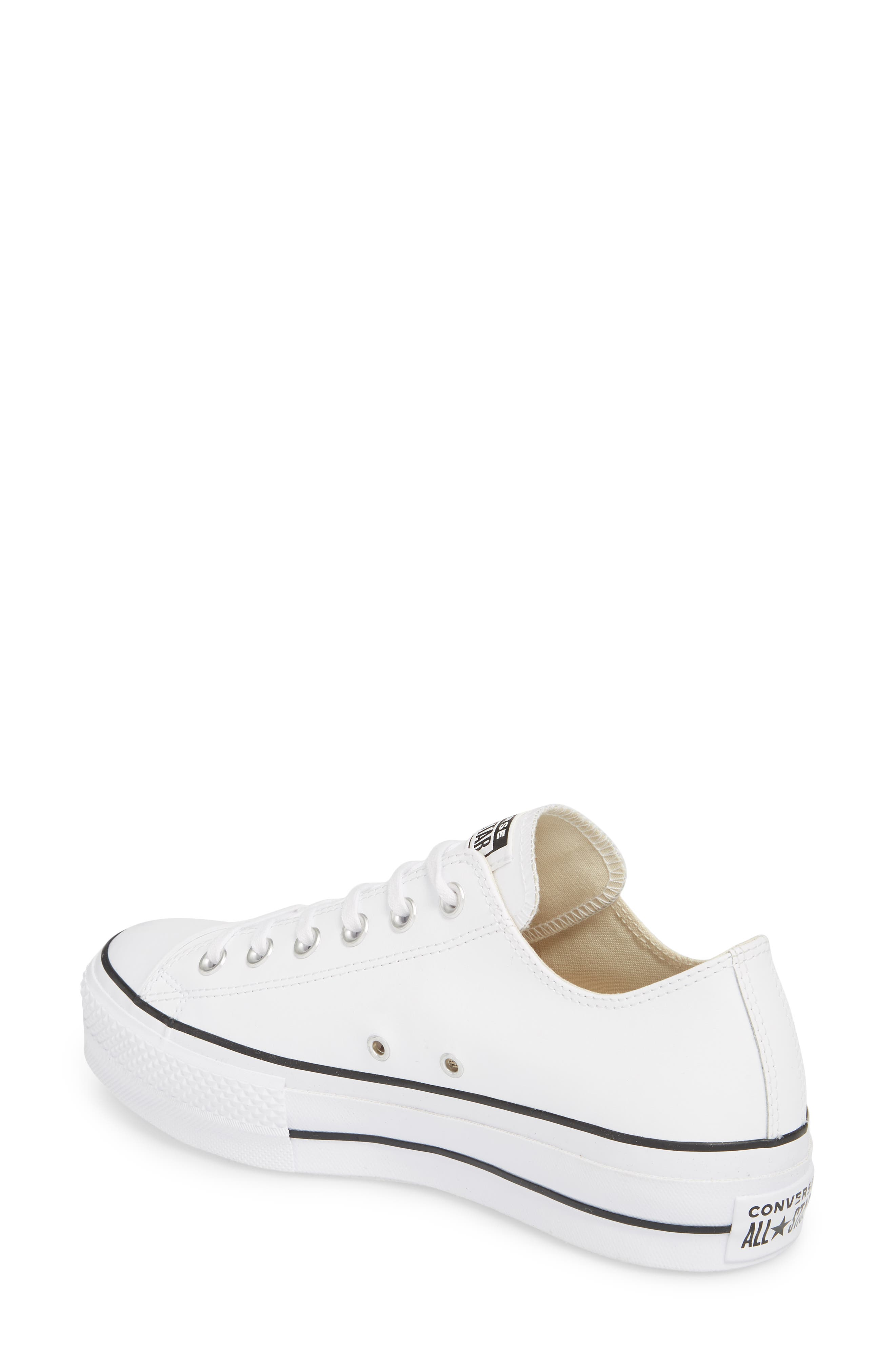 Chuck Taylor<sup>®</sup> All Star<sup>®</sup> Platform Sneaker,                             Alternate thumbnail 2, color,                             WHITE LEATHER
