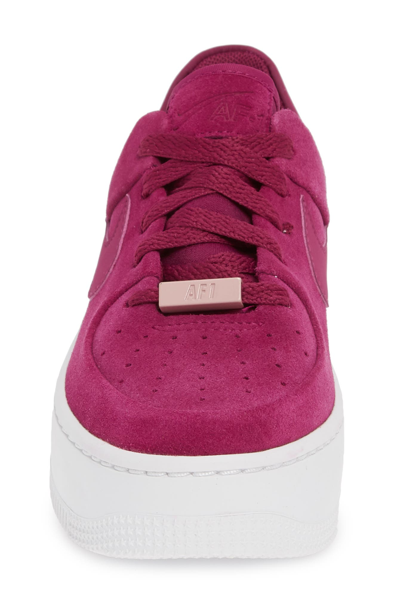 NIKE,                             Air Force 1 Sage Low Platform Sneaker,                             Alternate thumbnail 4, color,                             TRUE BERRY/ PLUM CHALK