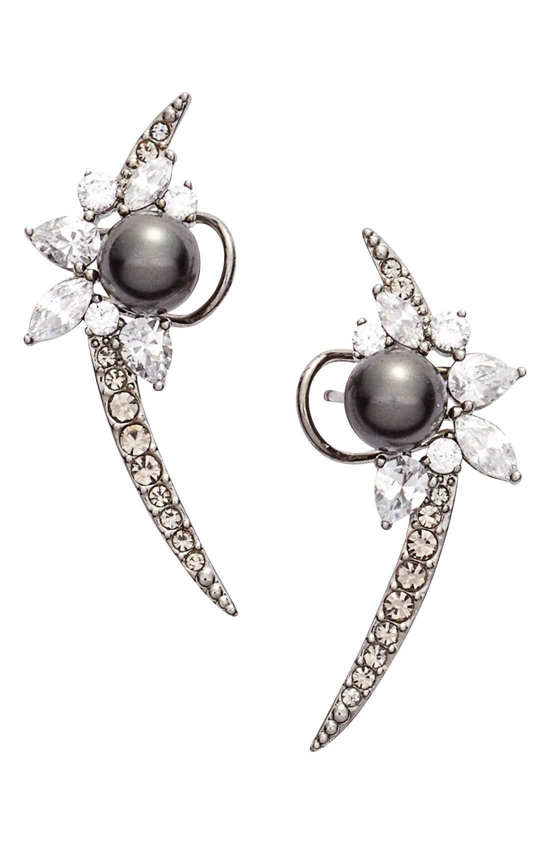 'Pearl Essence' Cubic Zirconia Ear Crawlers,                             Main thumbnail 1, color,                             001