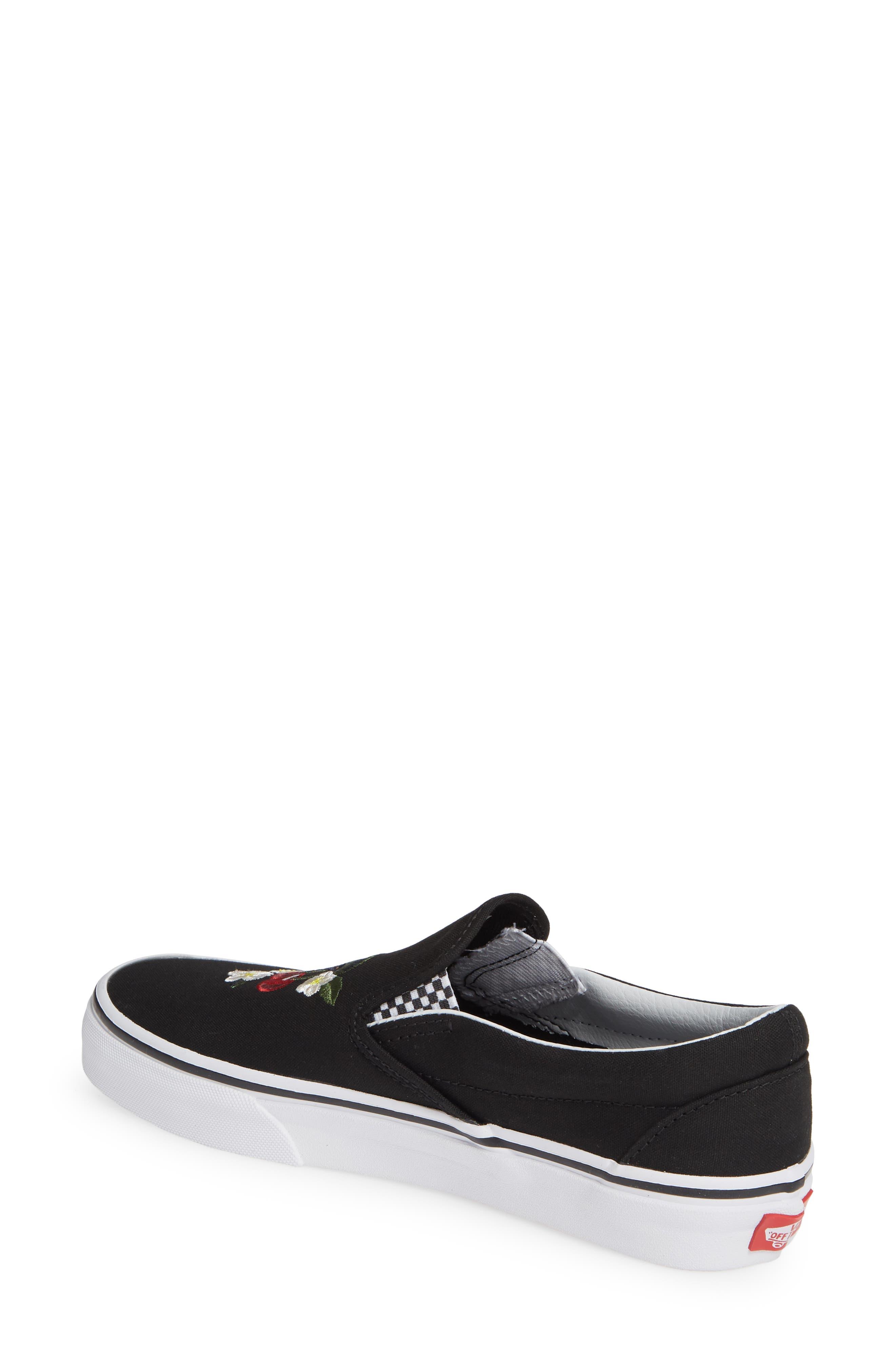 Classic Slip-On Sneaker,                             Alternate thumbnail 2, color,                             CHECKER FLORAL BLACK