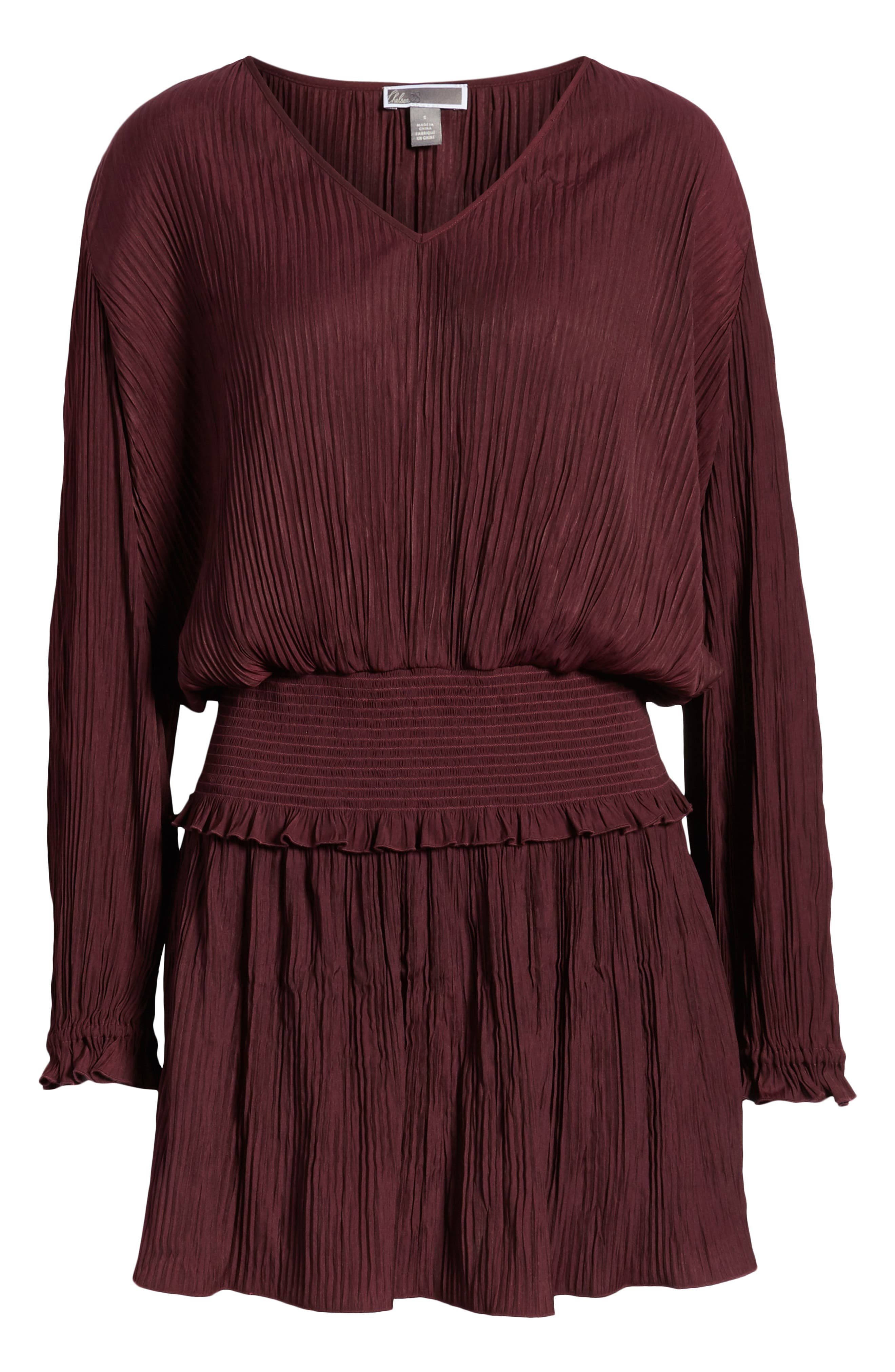 CHELSEA28, Smock Waist Crinkle Dress, Alternate thumbnail 7, color, BURGUNDY STEM