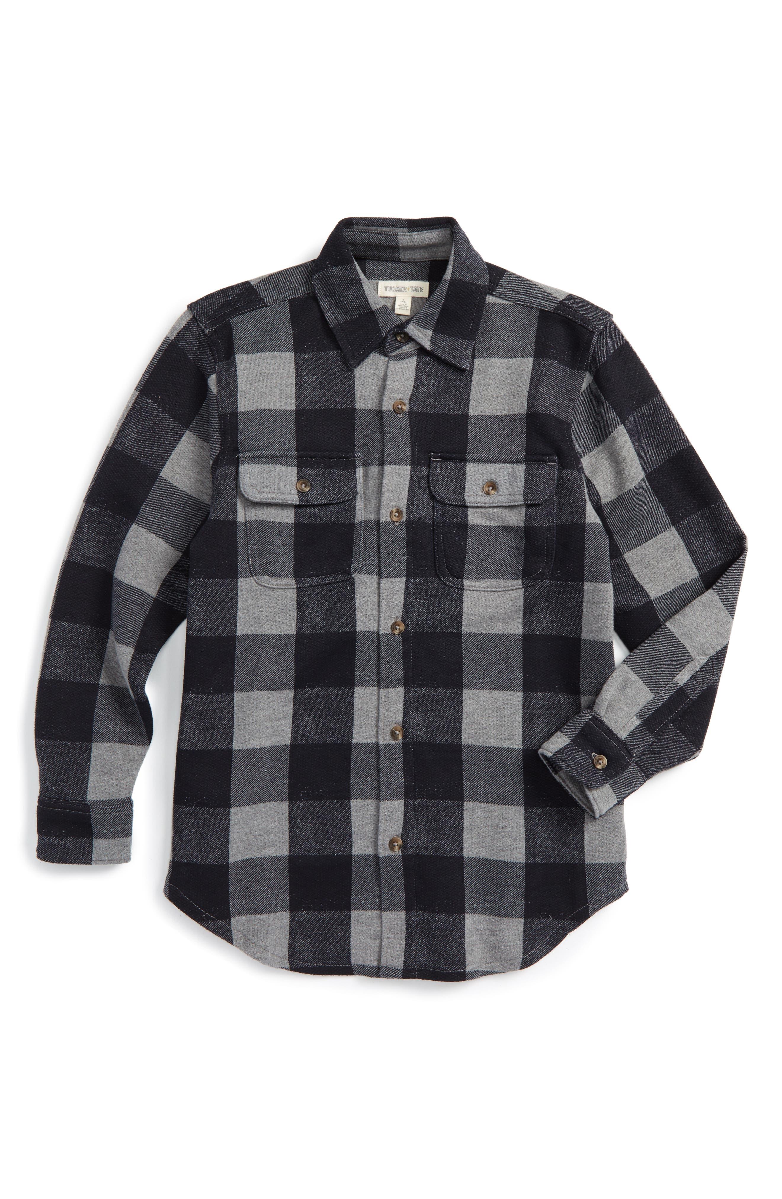 Woven Plaid Shirt,                             Main thumbnail 1, color,                             001