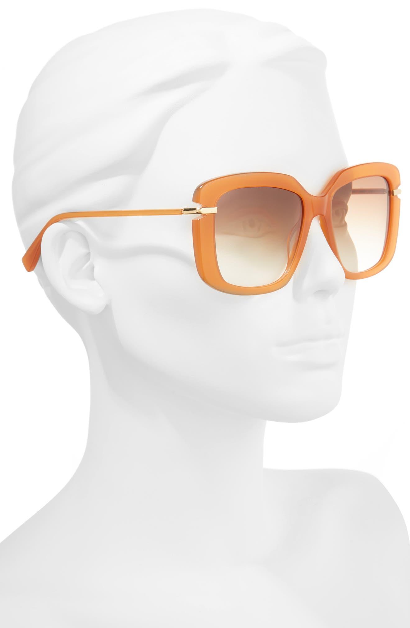 Anita 55mm Square Sunglasses,                             Alternate thumbnail 2, color,                             AMBER