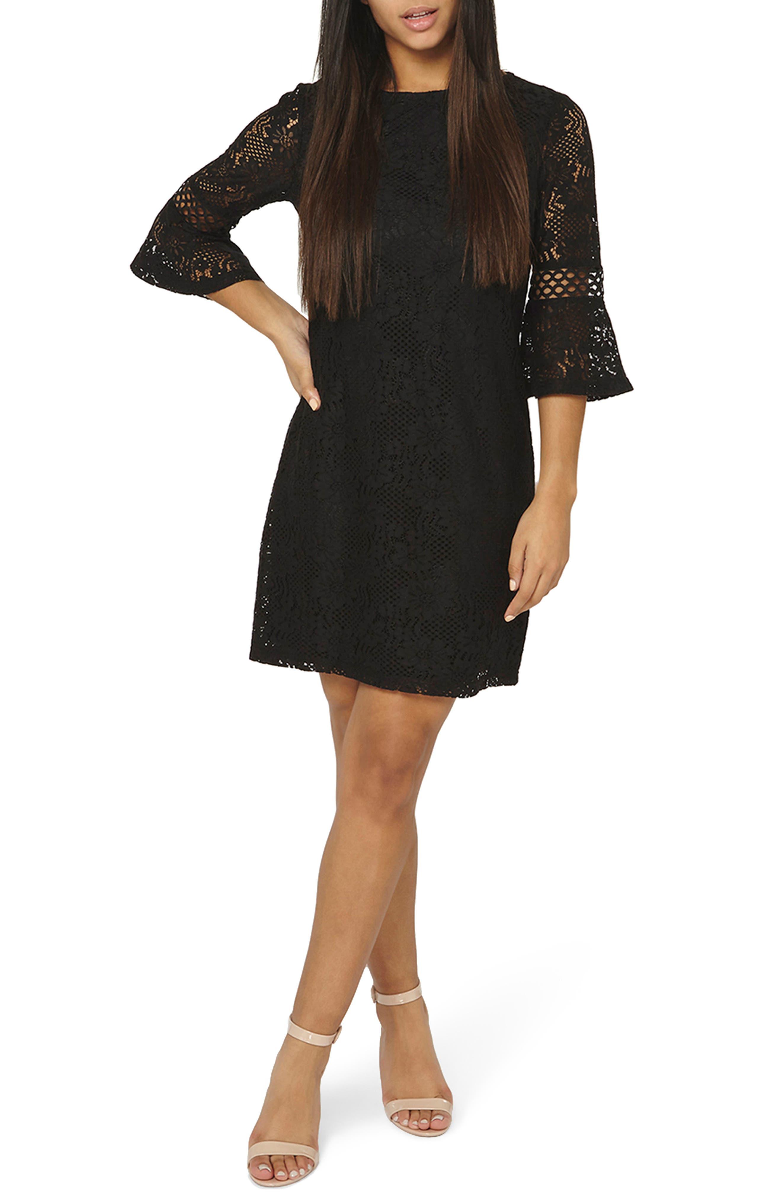 Lace Flare Cuff Shift Dress,                             Main thumbnail 1, color,                             001