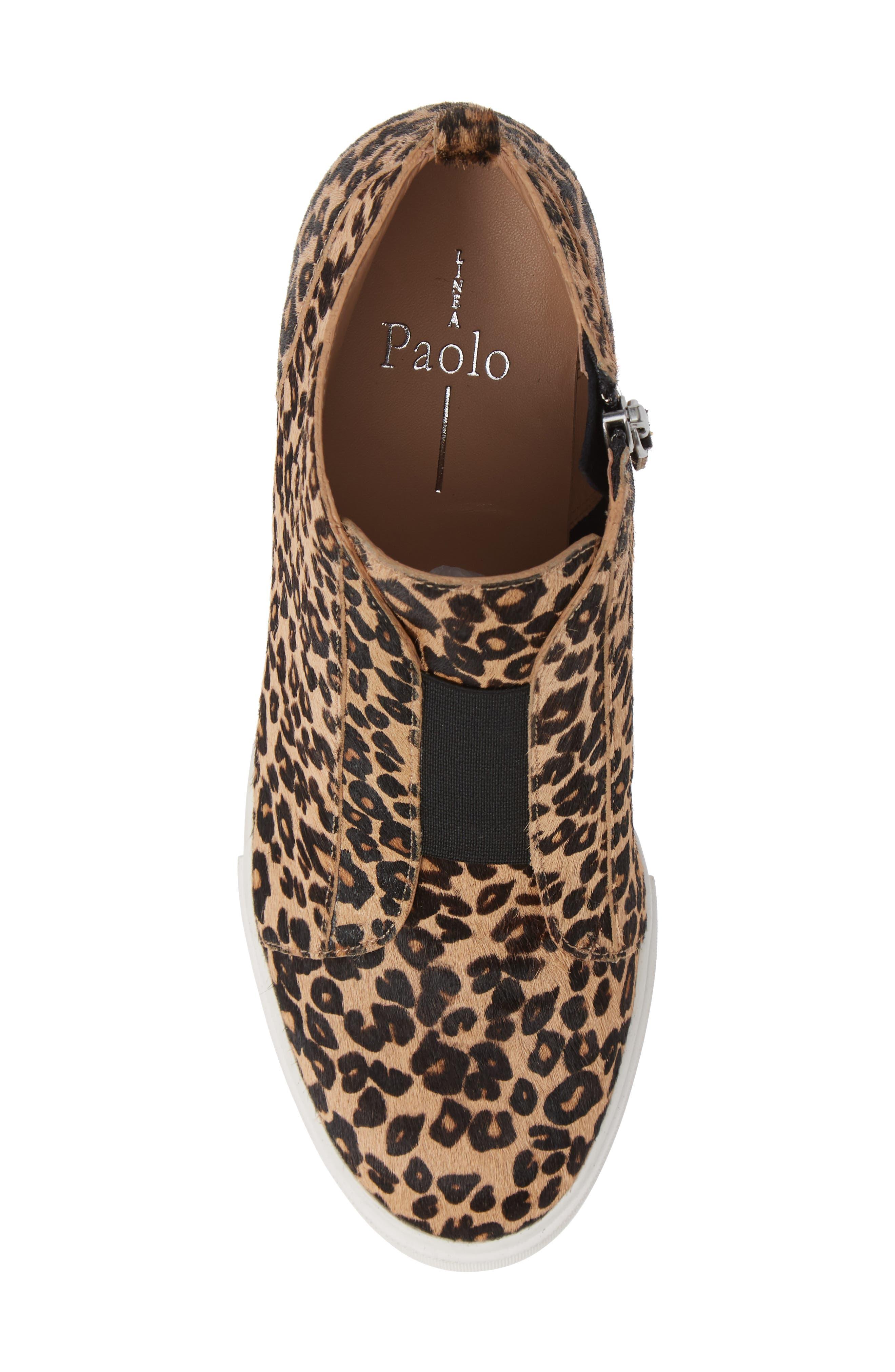 Felicia III Genuine Calf Hair Wedge Sneaker,                             Alternate thumbnail 5, color,                             LEOPARD PRINT HAIR CALF