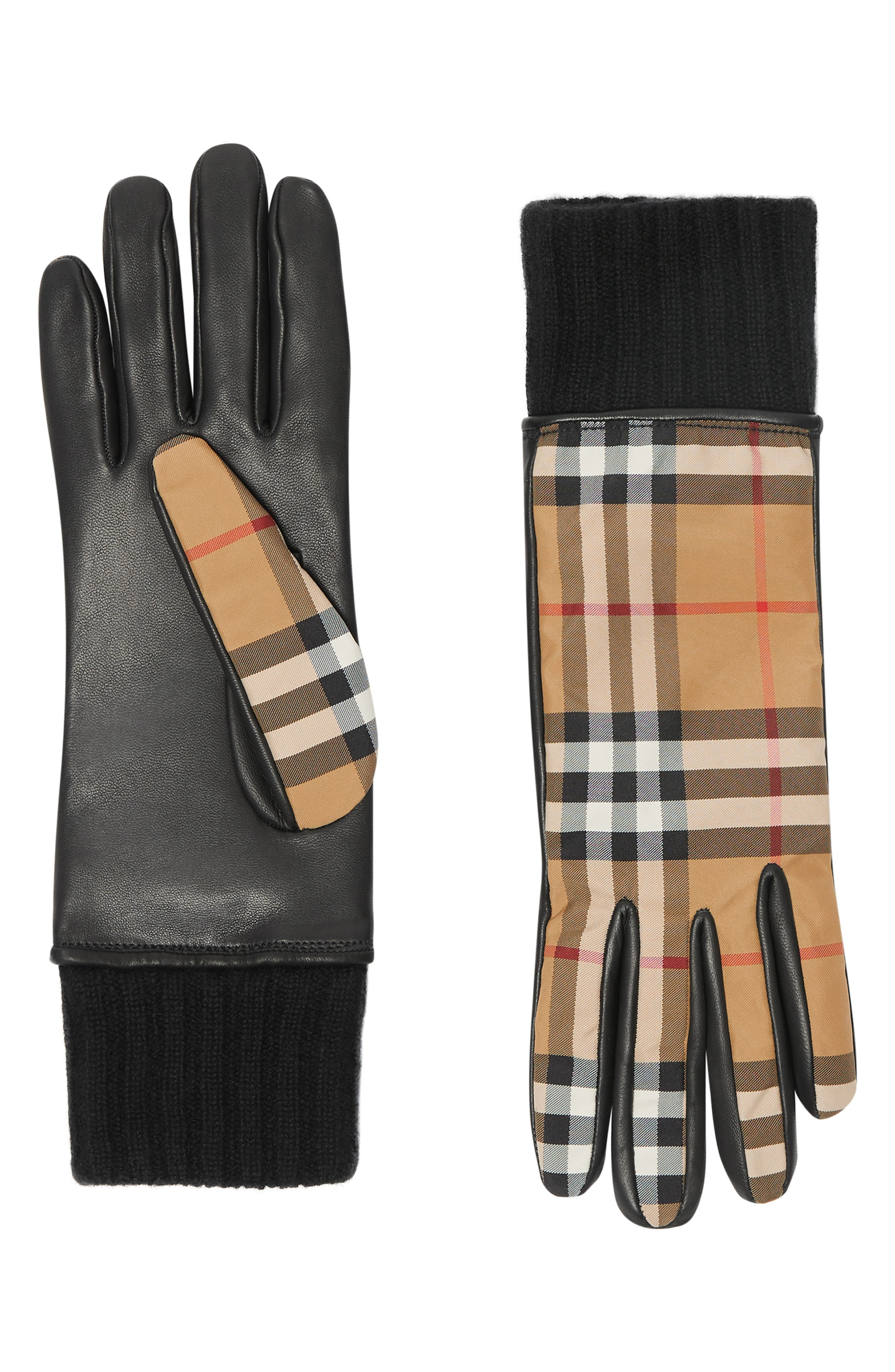 Burberry Cashmere Lined Vintage Check & Leather Gloves - Brown