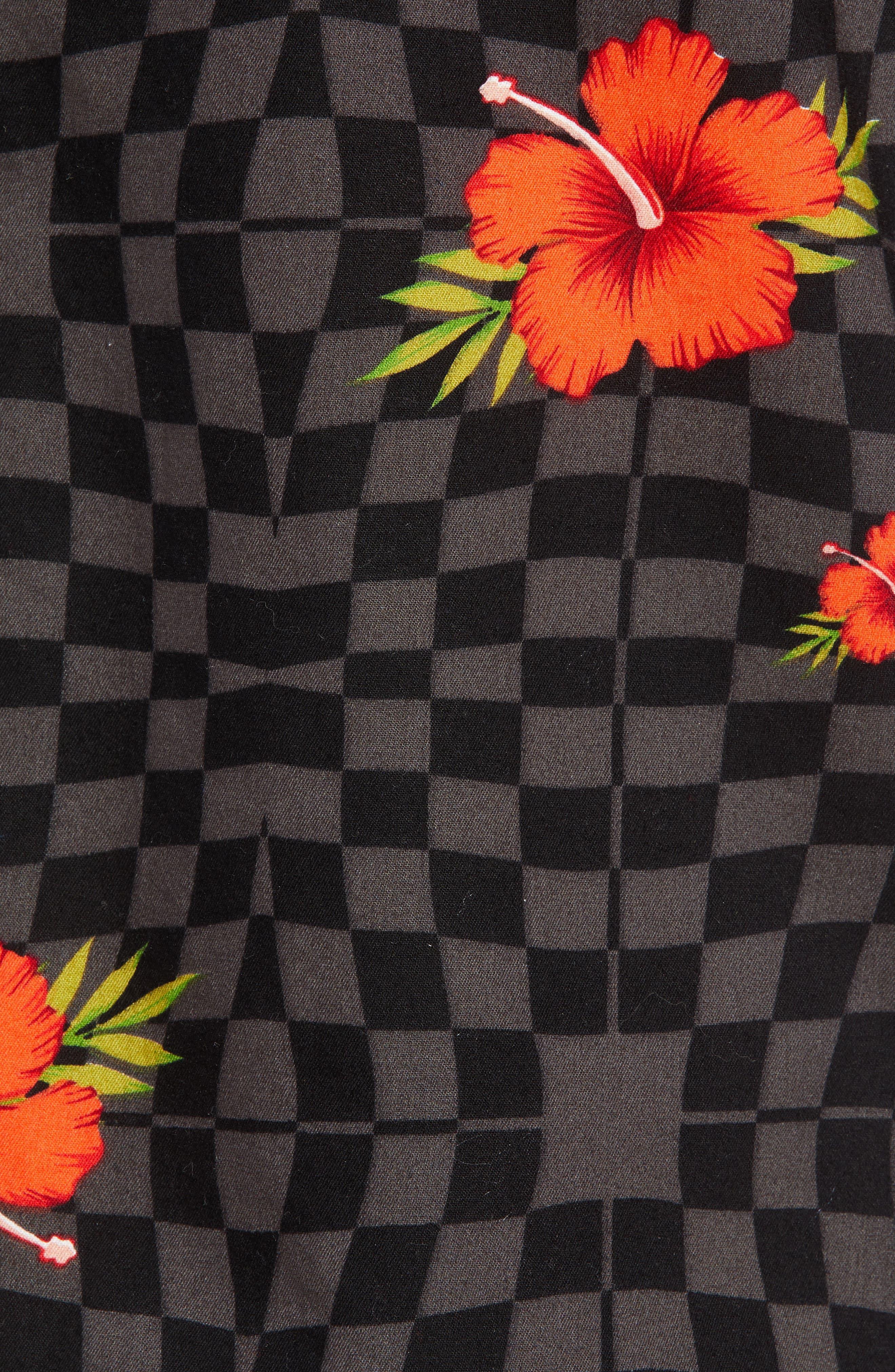 VANS,                             Warp Tropic Checks Camp Shirt,                             Alternate thumbnail 5, color,                             001