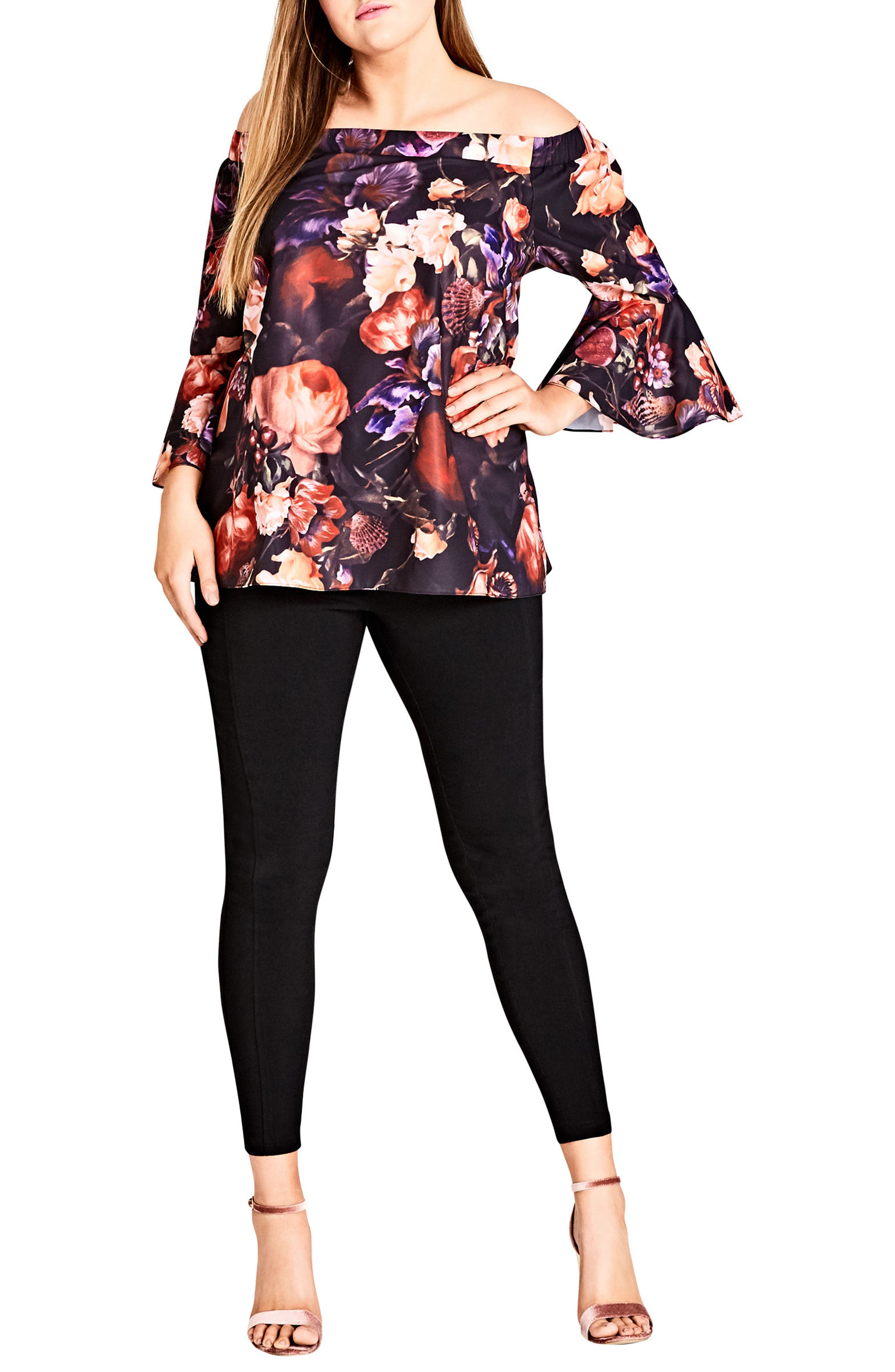 Opulence Off the Shoulder Bell Sleeve Top,                             Alternate thumbnail 4, color,                             OPULENCE