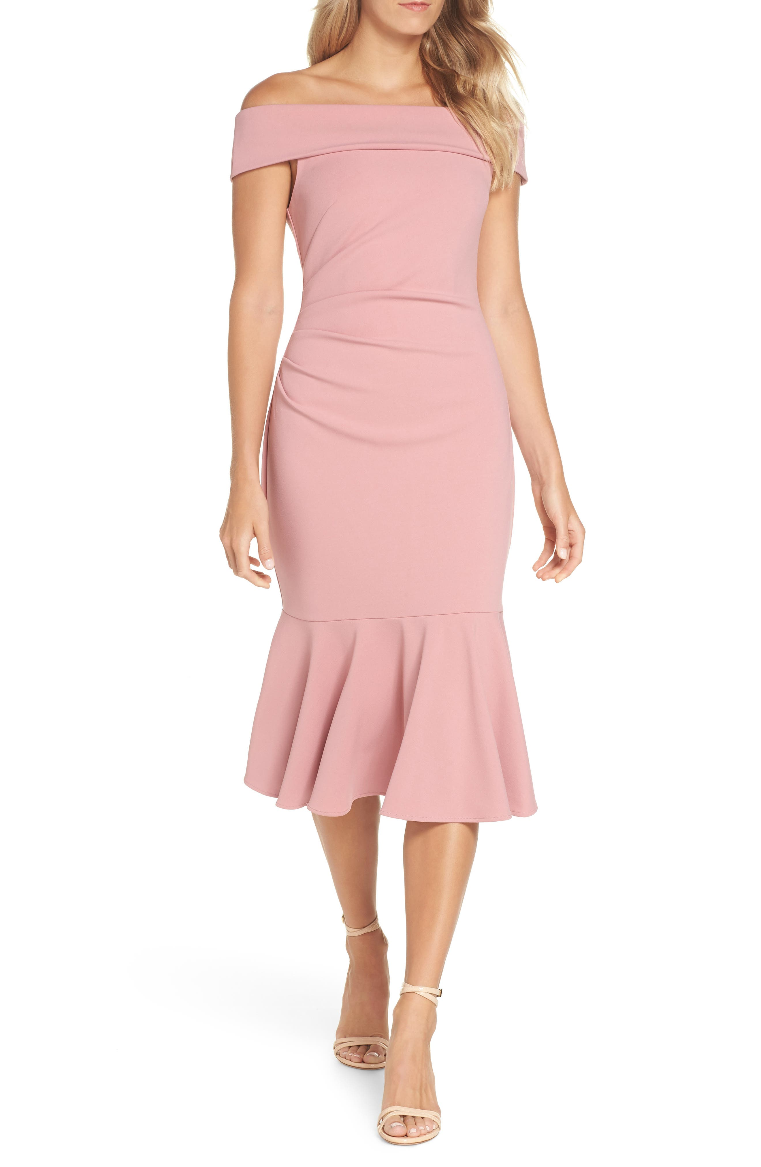 women's vince camuto off the shoulder midi dress, size 8 - pink