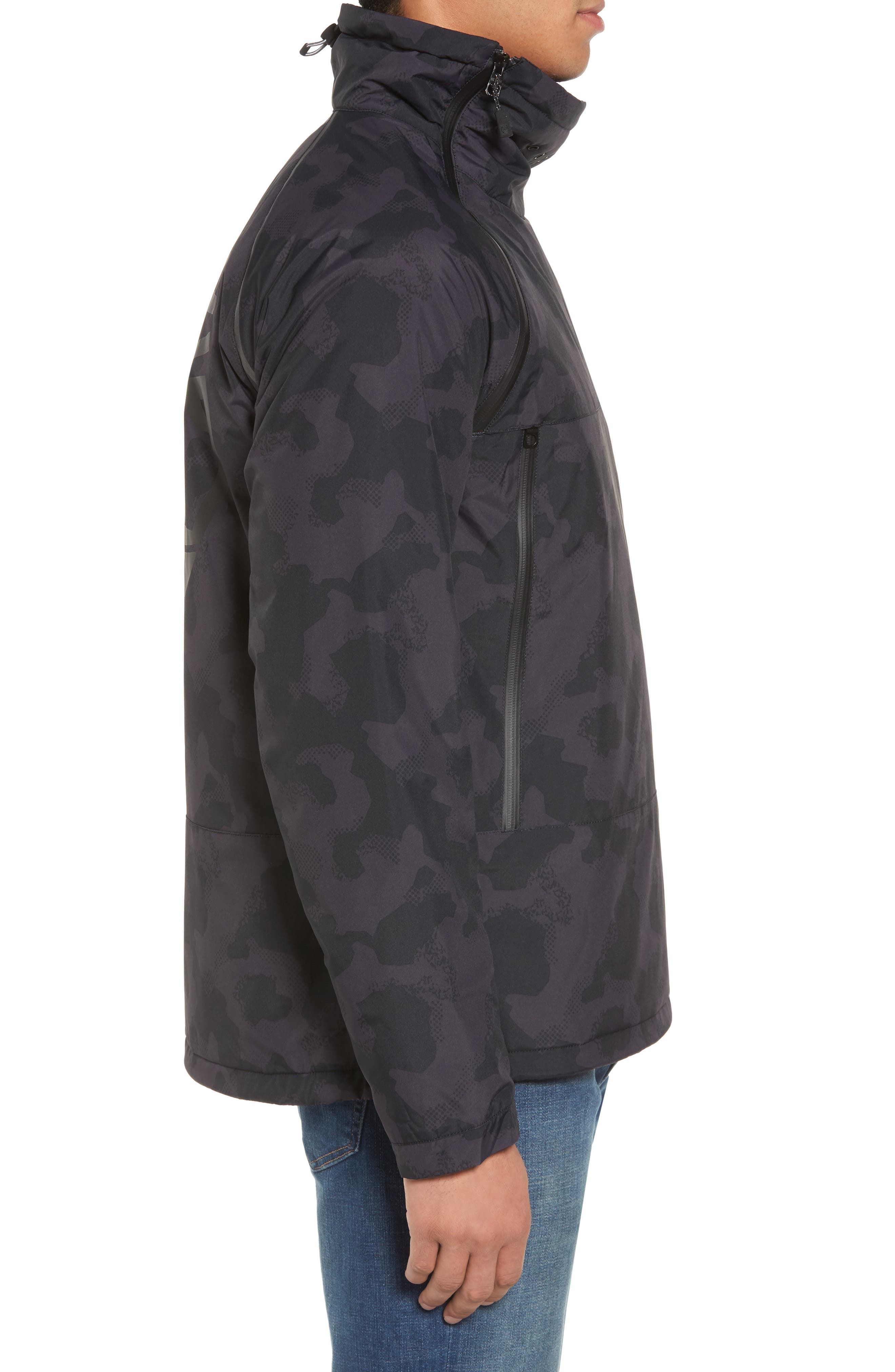 Asymmetrical Water-Repellent Funnel Neck Pullover,                             Alternate thumbnail 3, color,                             001
