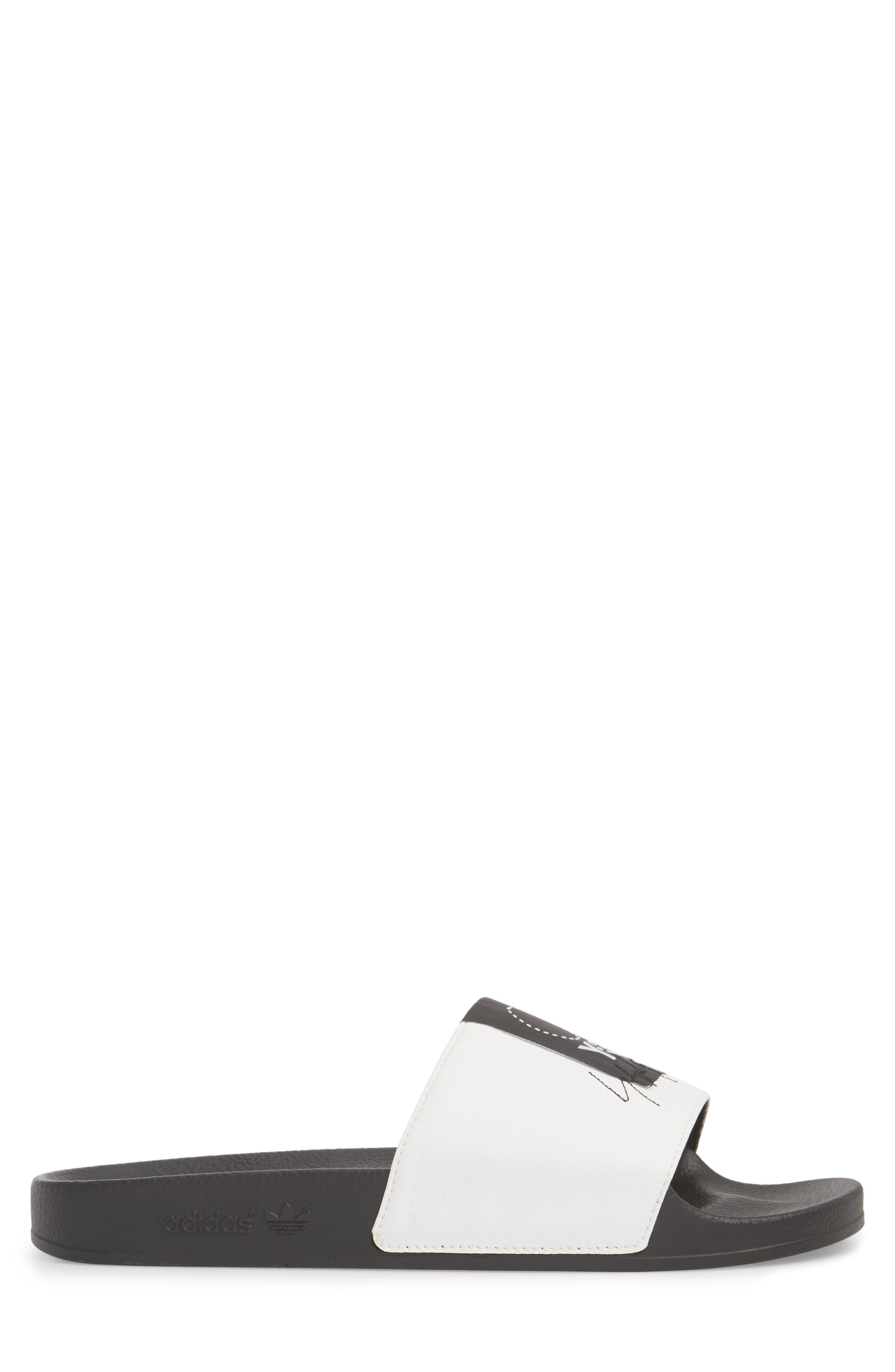 Adilette Slide Sandal,                             Alternate thumbnail 3, color,                             WHITE/ BLACK