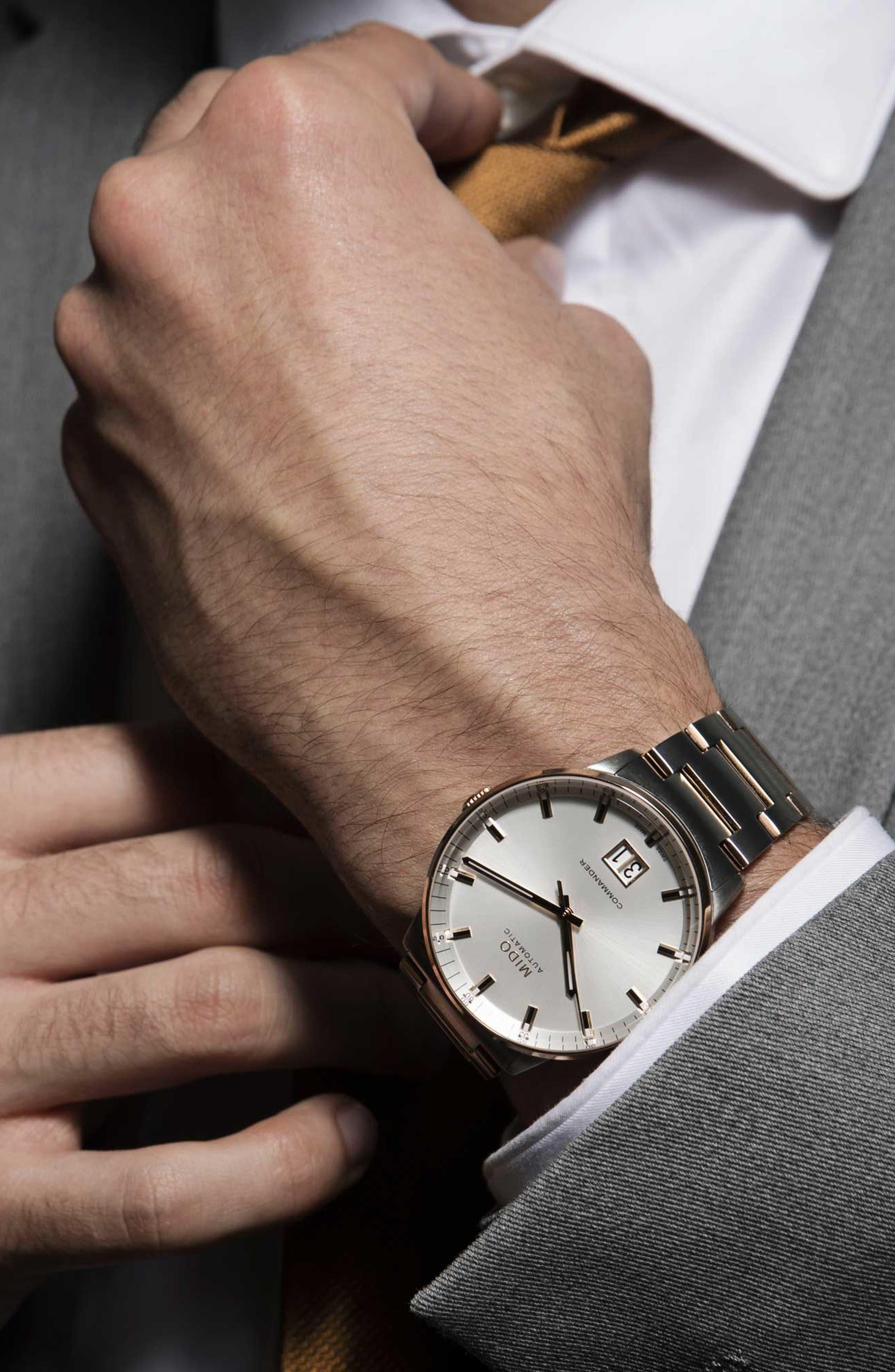 Commander II Skeleton Bracelet Watch, 42mm,                             Alternate thumbnail 4, color,                             ROSE GOLD/ SILVER