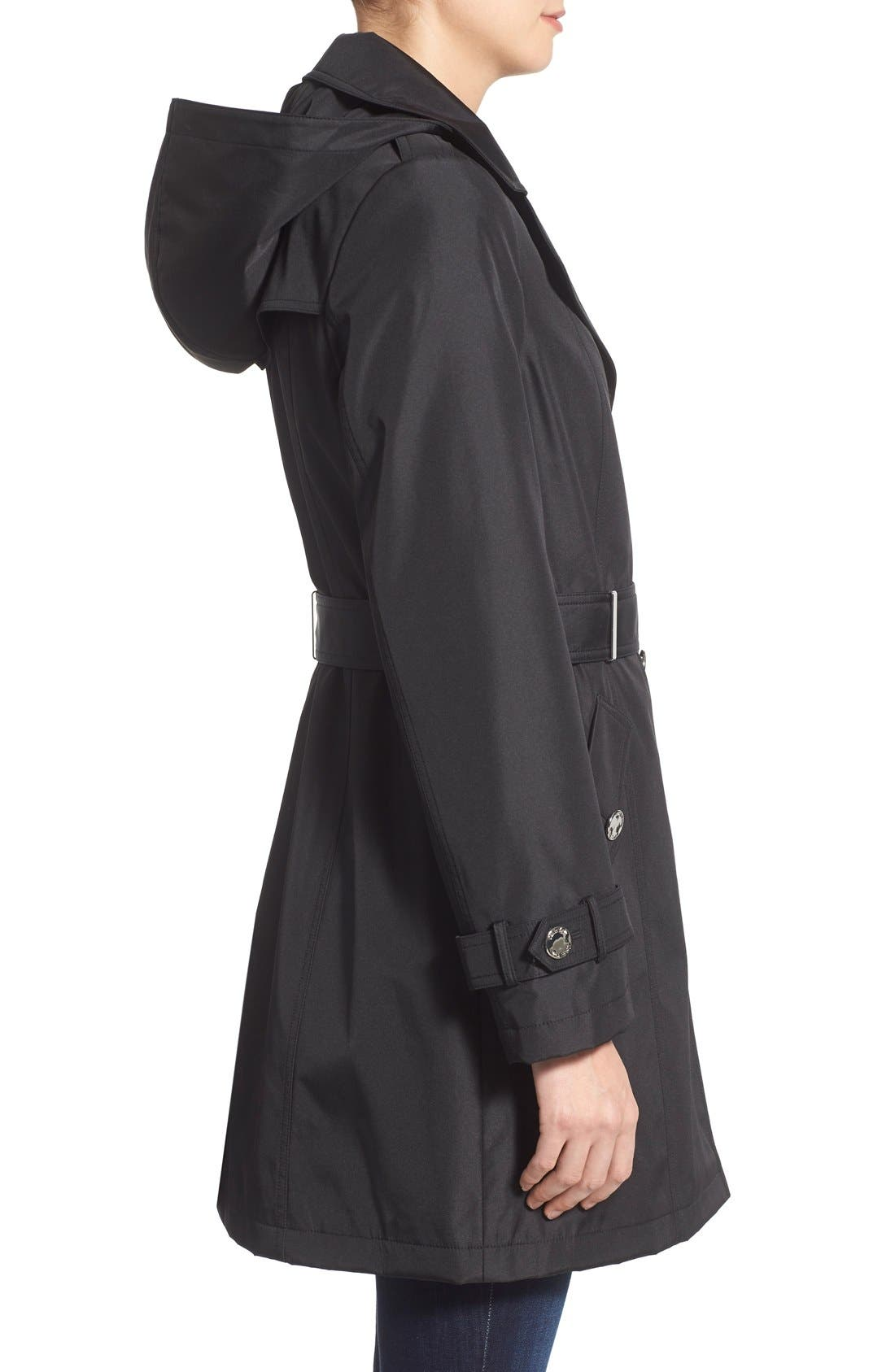 Single Breasted Belted Trench Coat,                             Alternate thumbnail 2, color,                             001