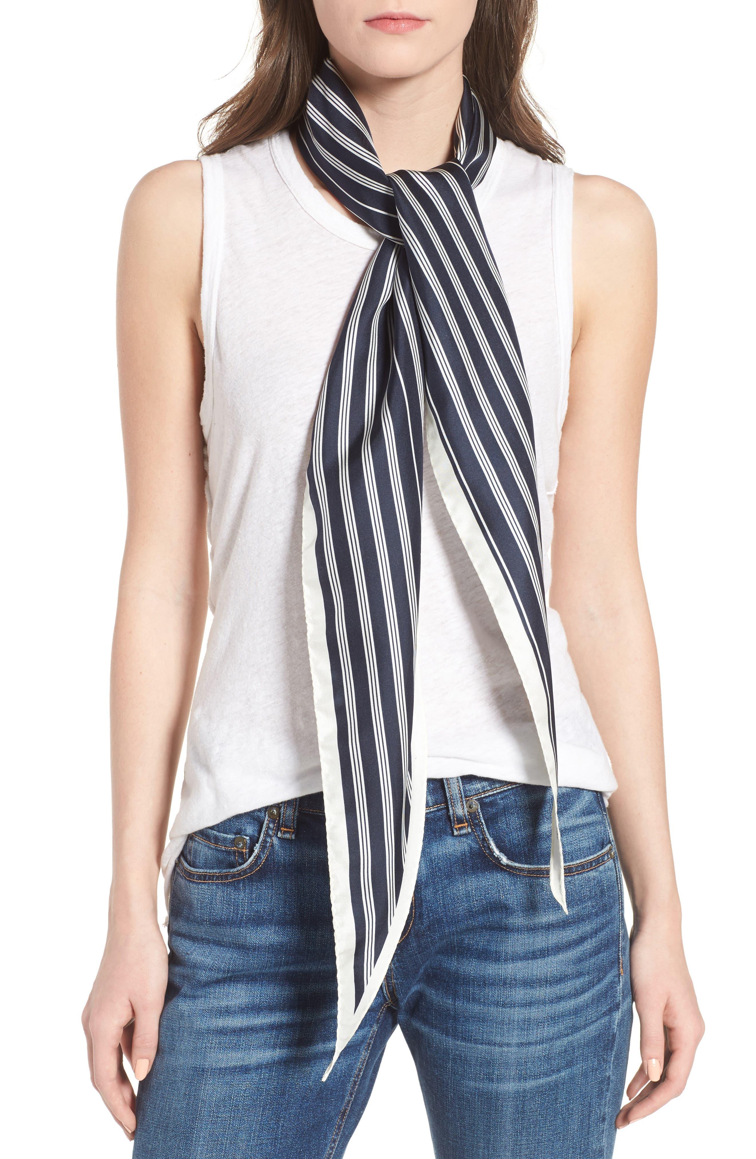 Narrow Stripe Silk Scarf,                             Main thumbnail 2, color,