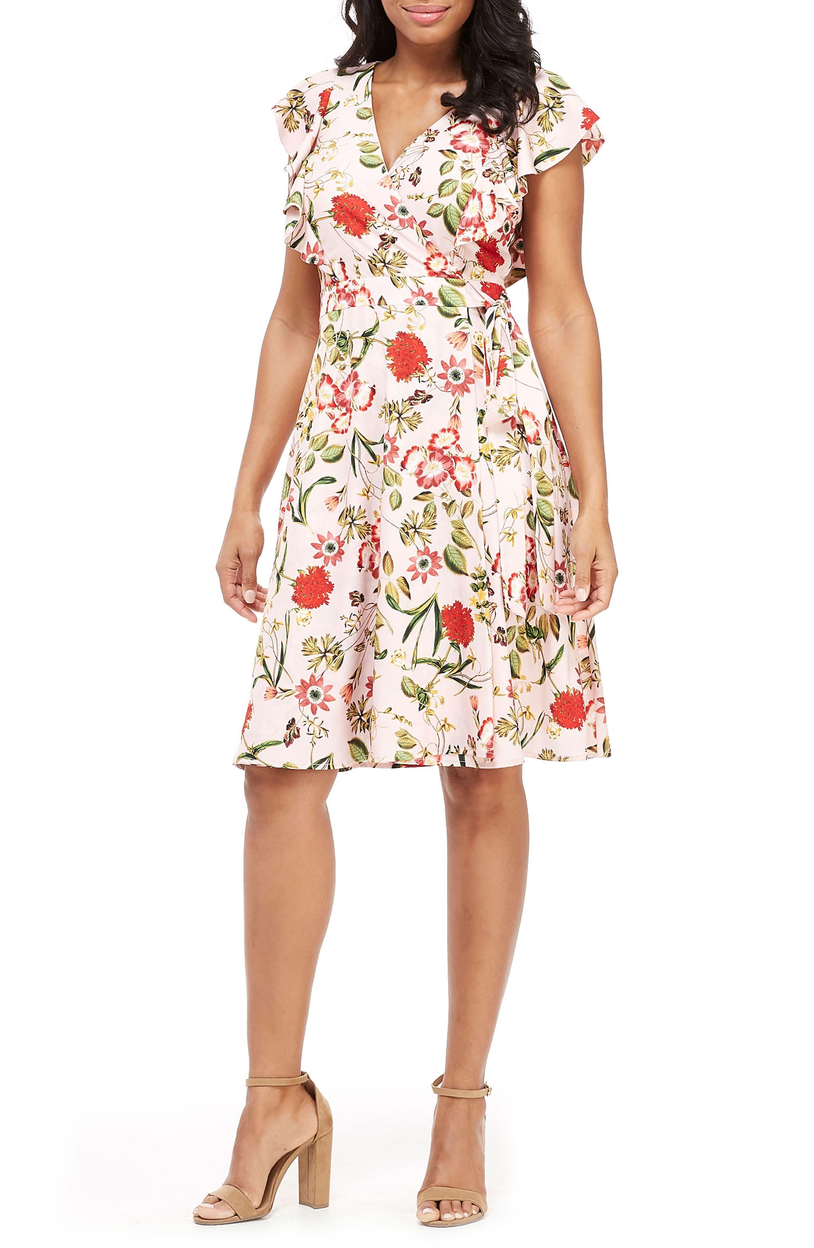Maggy London Garden In Bloom Faux Wrap Dress, Pink