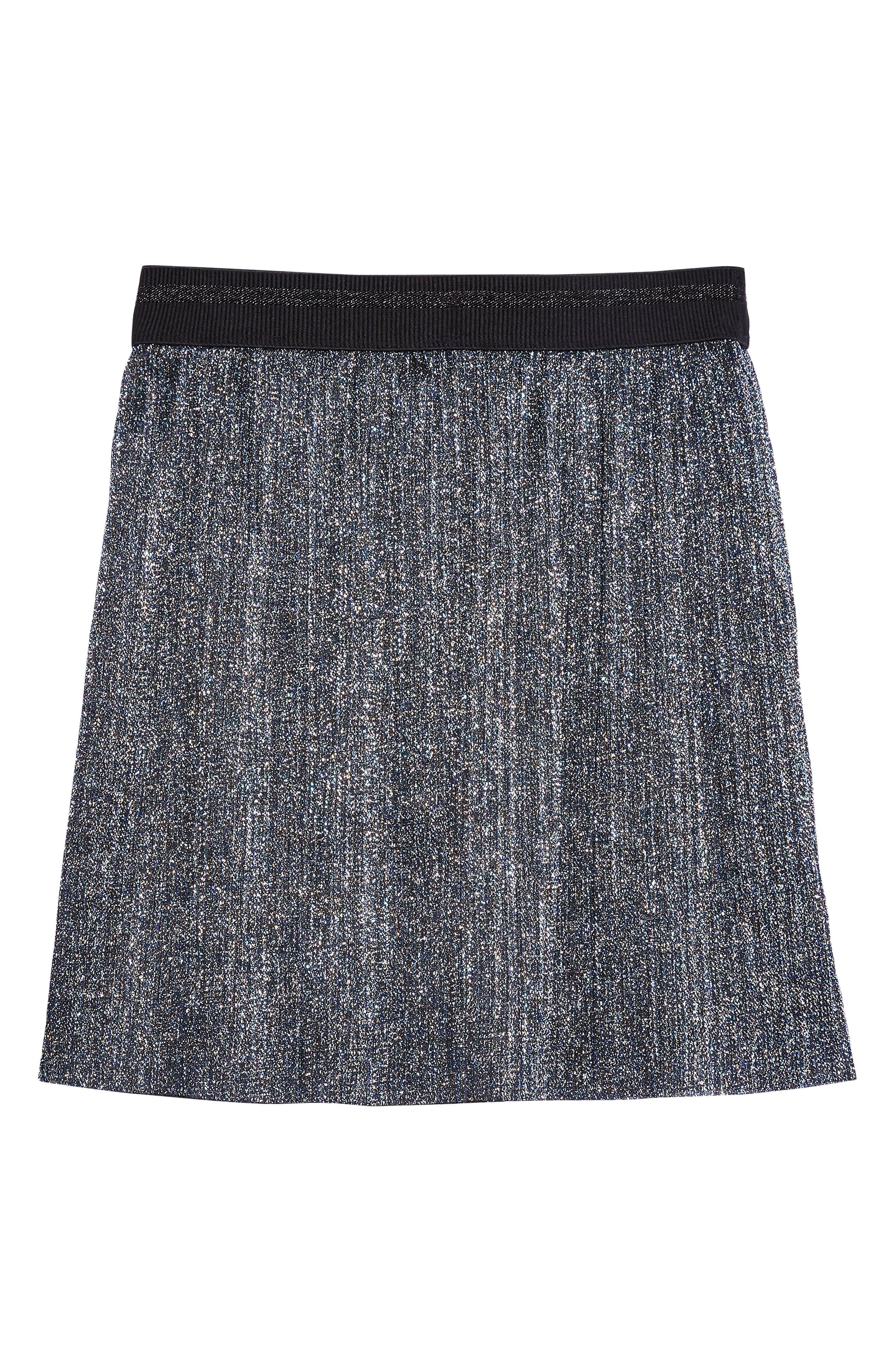 Metallic Plissé Miniskirt,                             Alternate thumbnail 4, color,                             BLUE MULTI