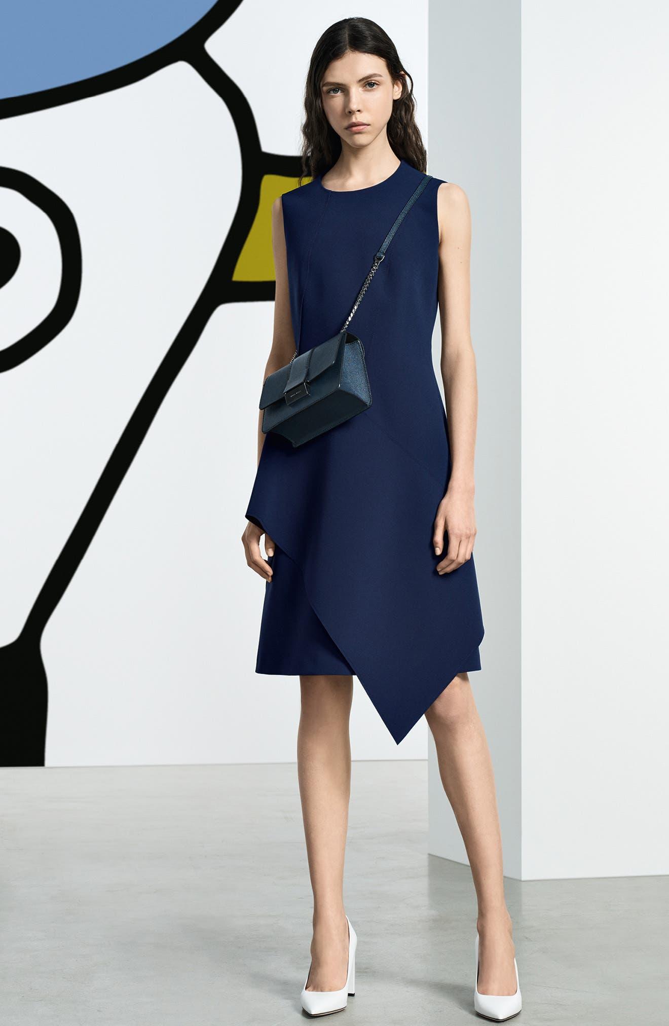 Delakety Asymmetrical A-Line Dress,                             Alternate thumbnail 9, color,                             DEEP BLUE FANTASY