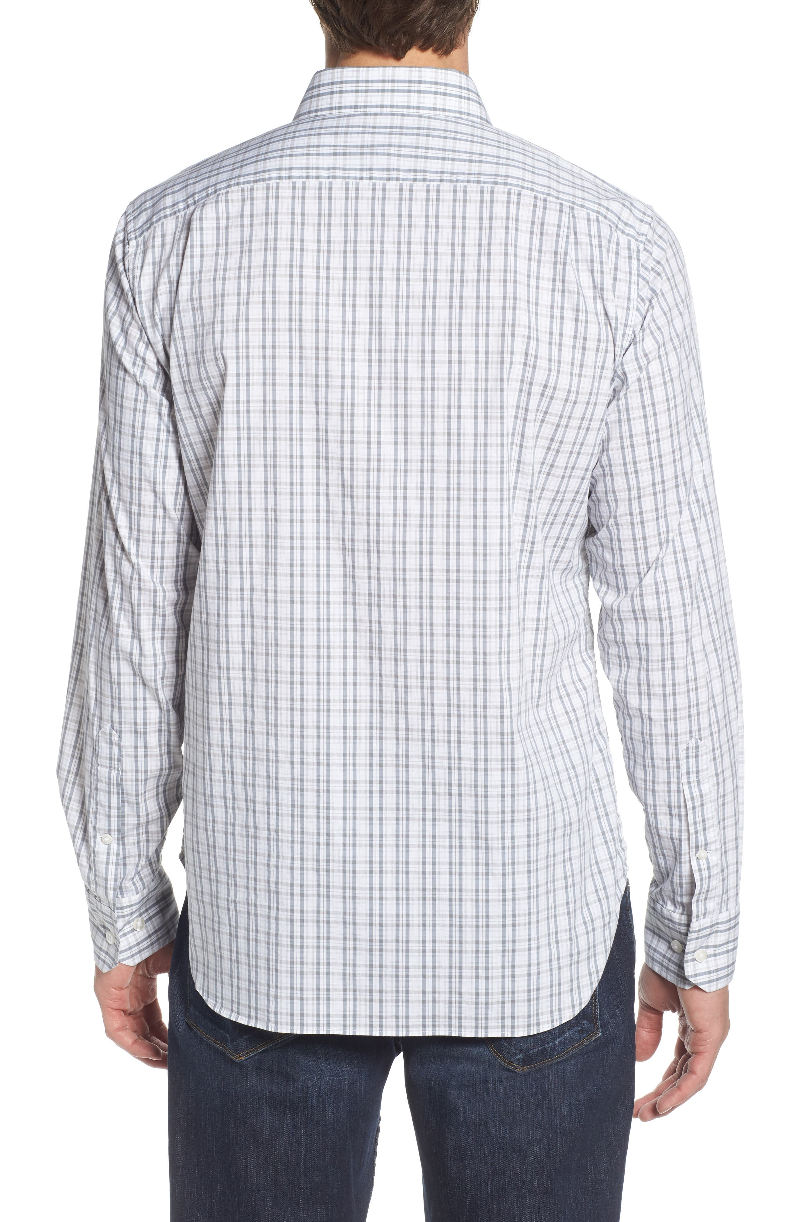 Unbutton Down Slim Fit Plaid Sport Shirt,                             Alternate thumbnail 2, color,                             100