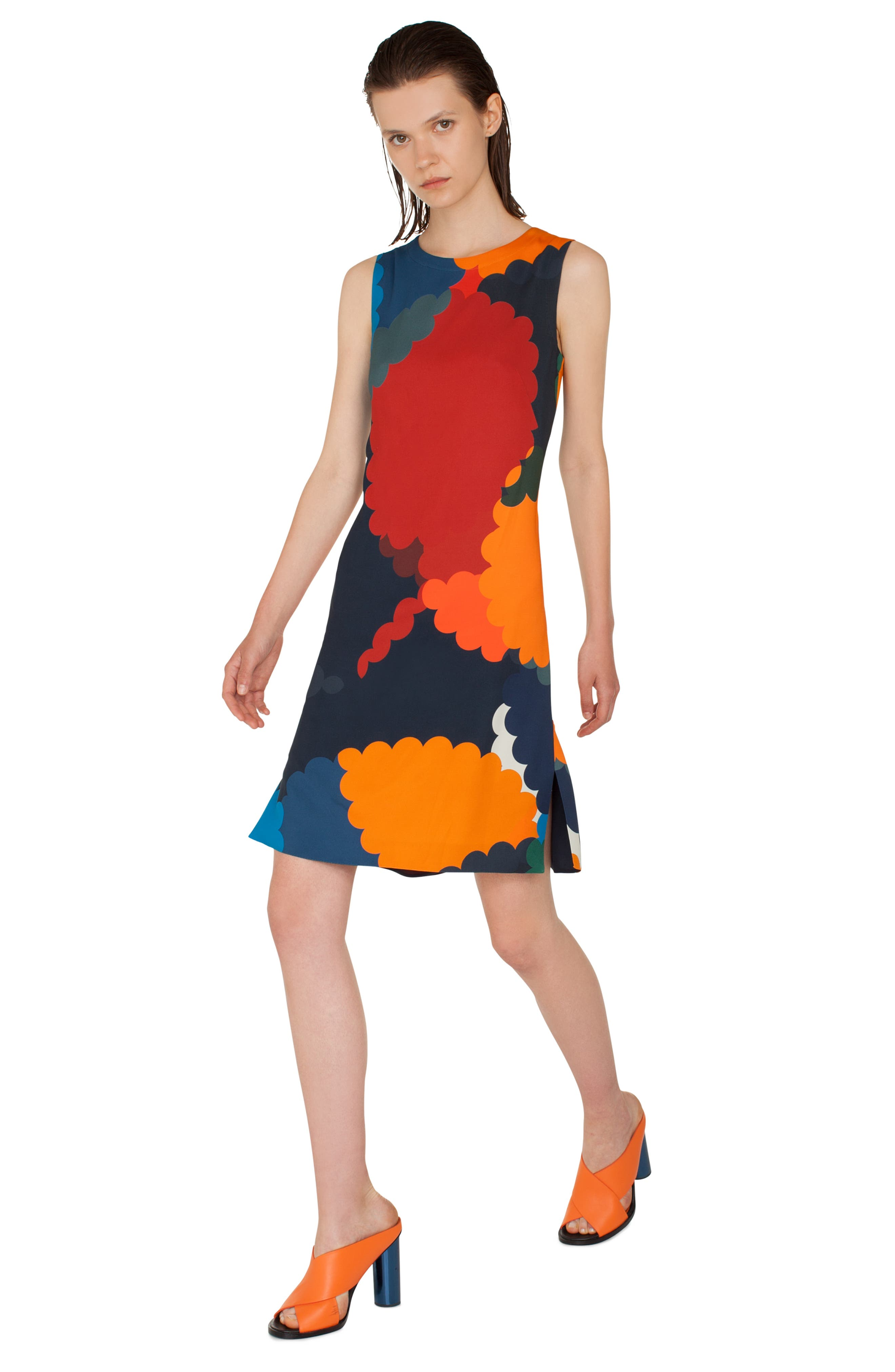 Nuvola Print Shift Dress,                             Alternate thumbnail 4, color,                             BLU MARE-MULTICOLOR