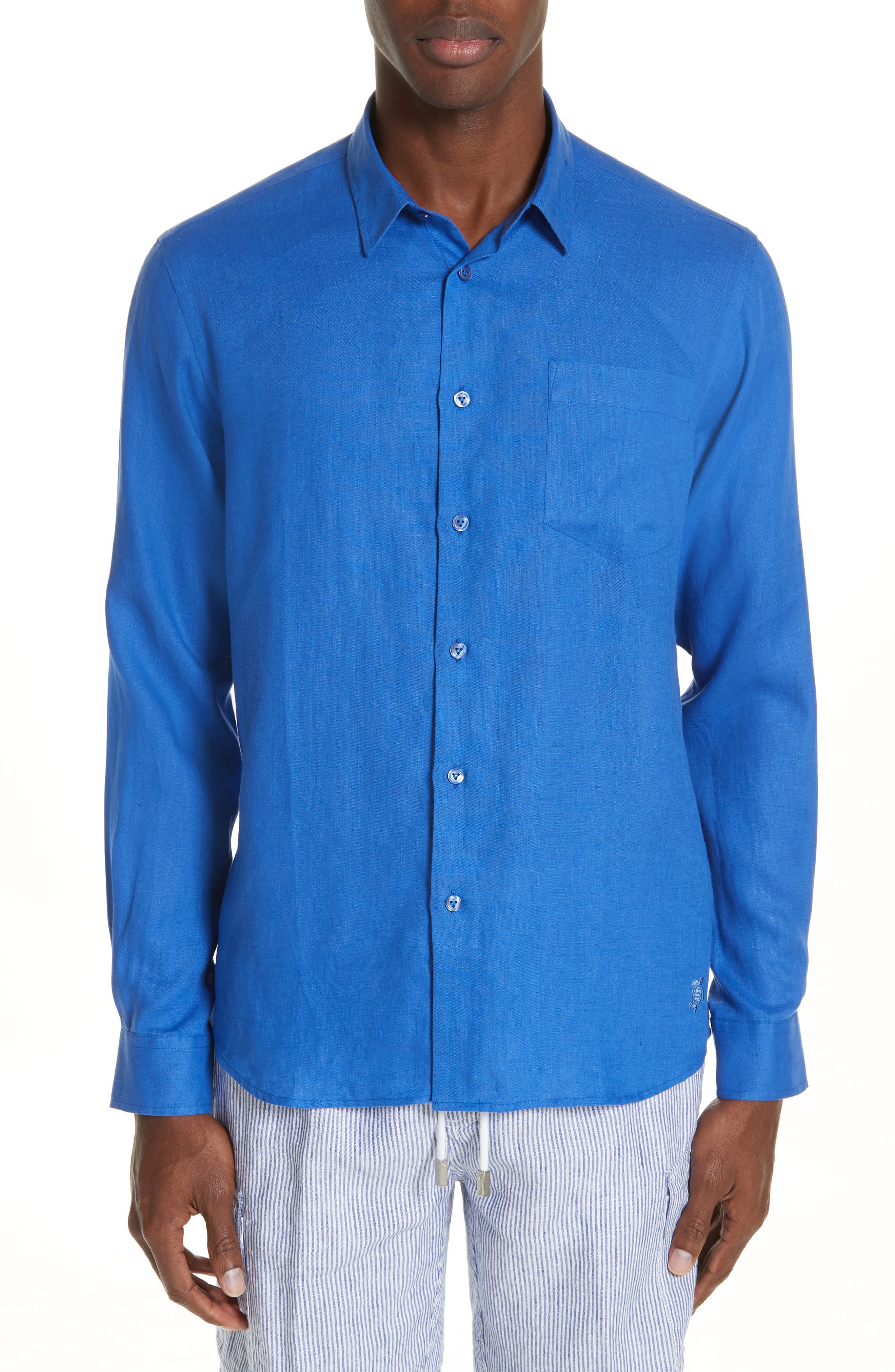 Linen Sport Shirt,                         Main,                         color, BLUE 2