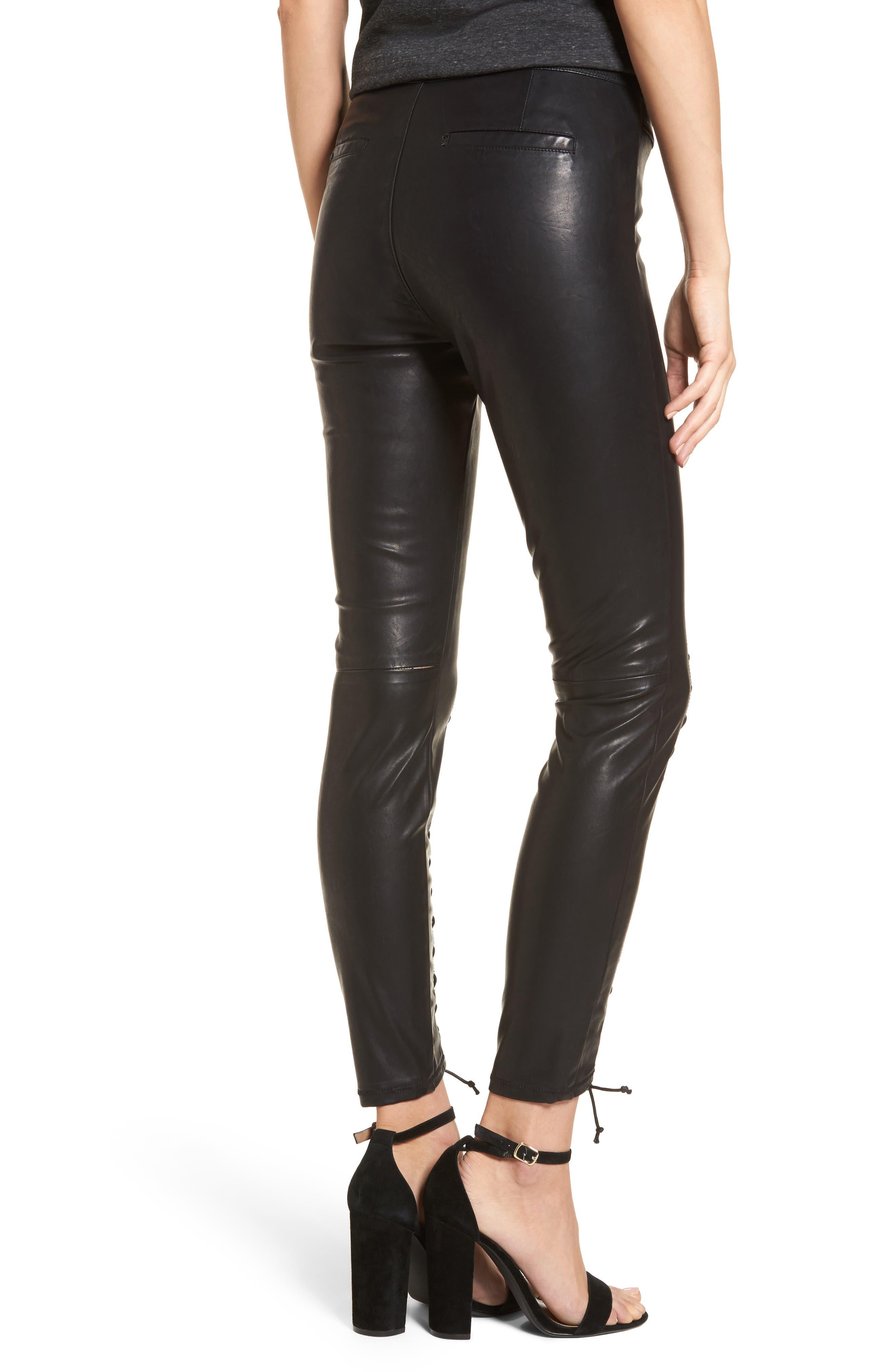Lace-Up Faux Leather Pants,                             Alternate thumbnail 2, color,                             007