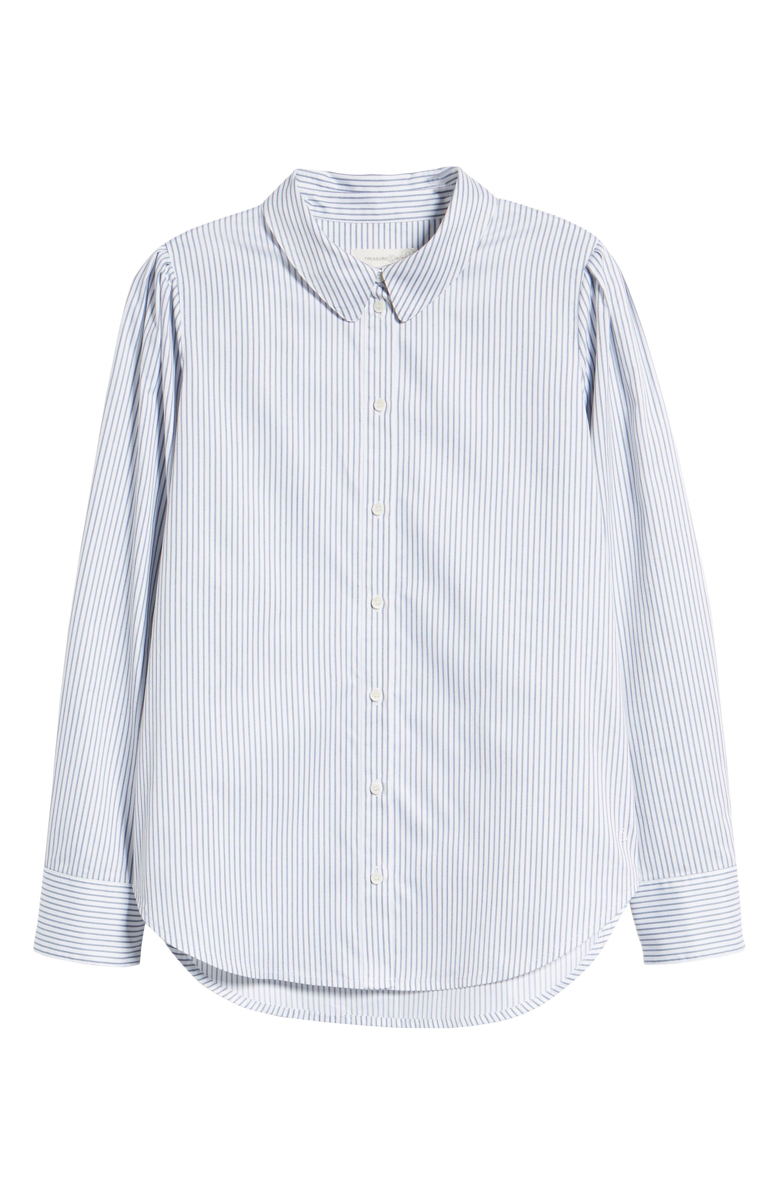 Pleated Sleeve Stripe Shirt,                             Alternate thumbnail 6, color,                             WHITE STOCKHOLM STRIPE