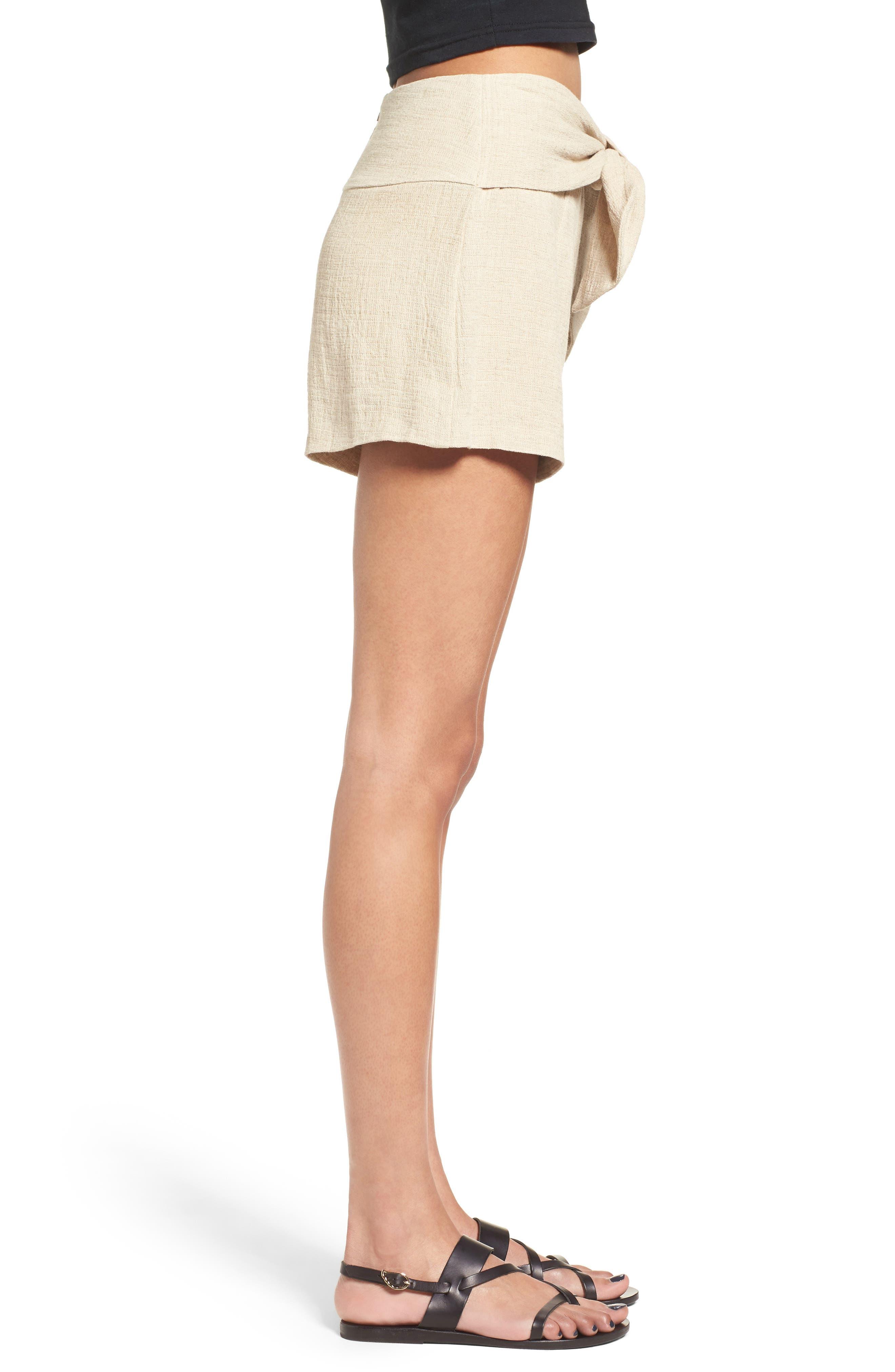 Tie Waist Linen & Cotton Shorts,                             Alternate thumbnail 3, color,                             250