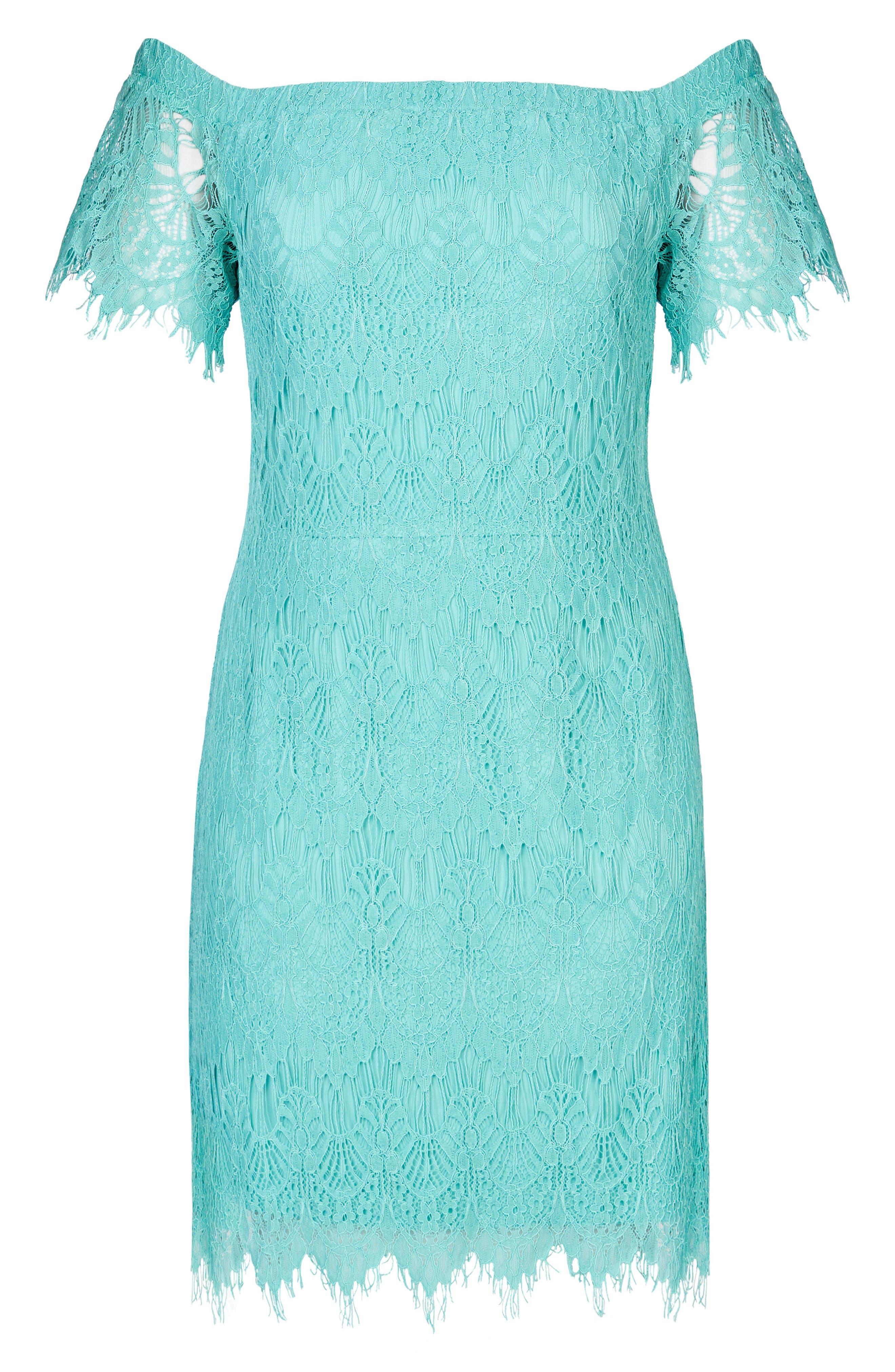 Off the Shoulder Lace Dress,                             Alternate thumbnail 3, color,                             MINT