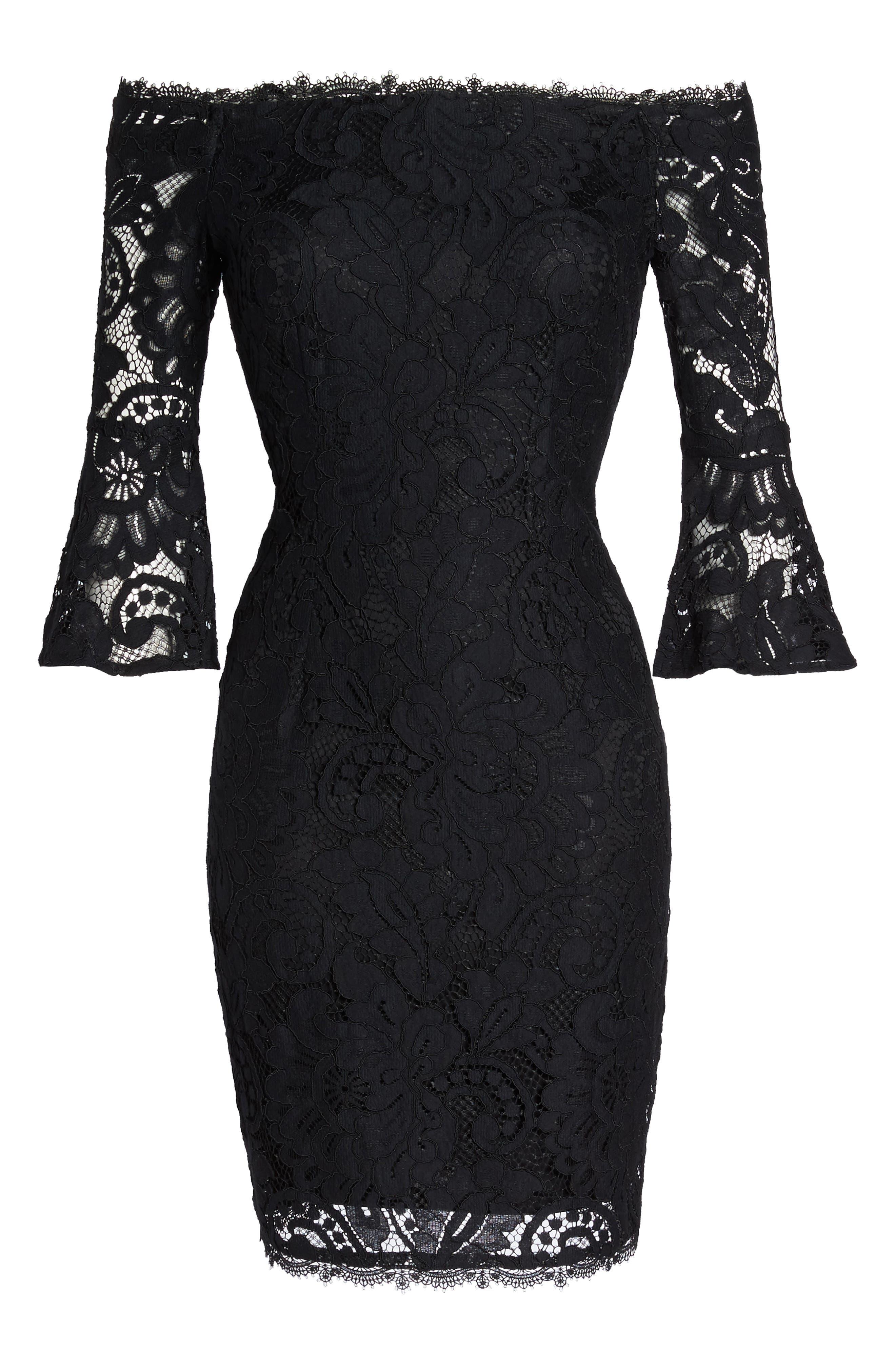 Off the Shoulder Lace Sheath Dress,                             Alternate thumbnail 12, color,