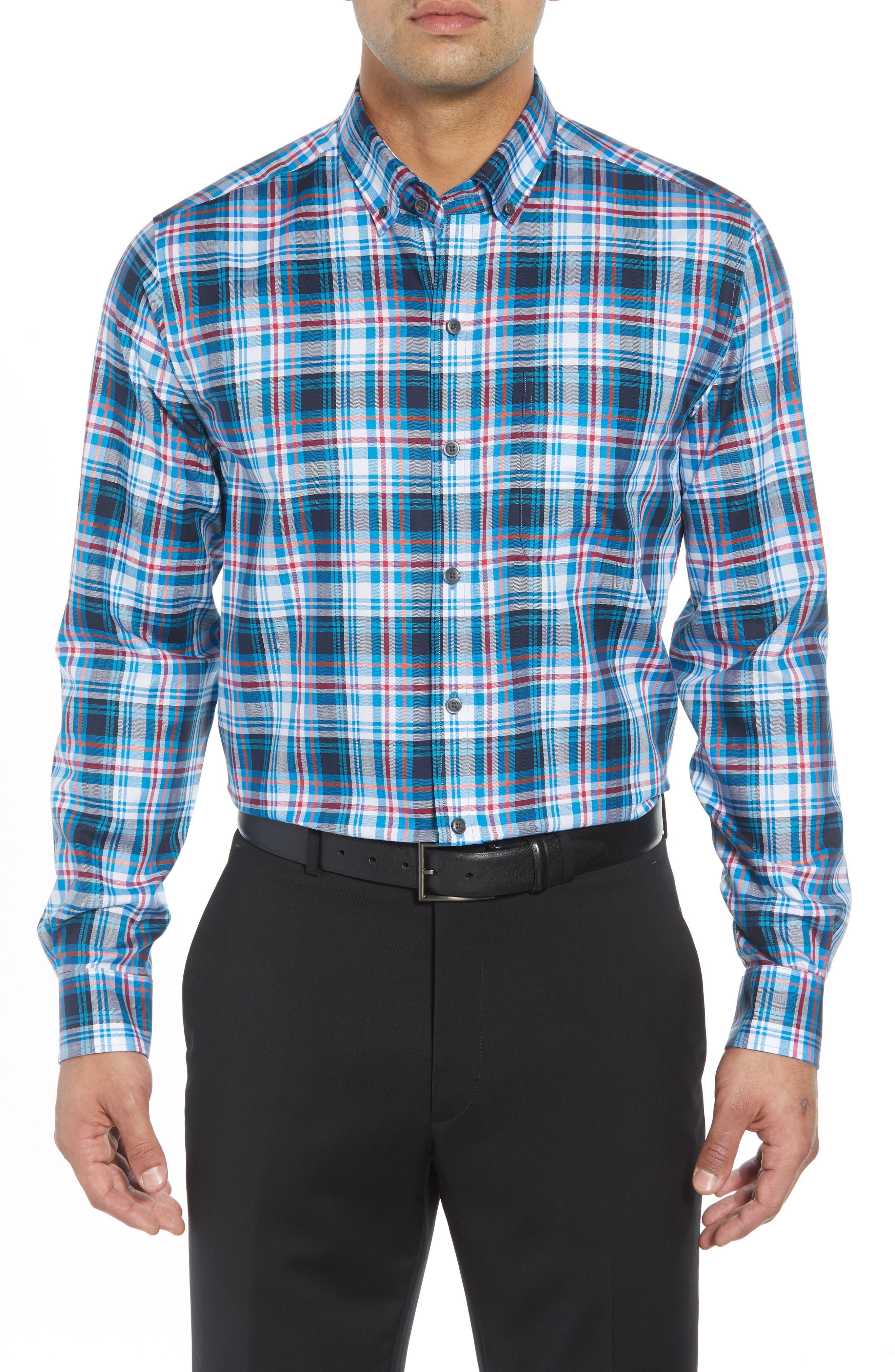 Brad Regular Fit Non-Iron Plaid Sport Shirt,                         Main,                         color, LIBERTY NAVY