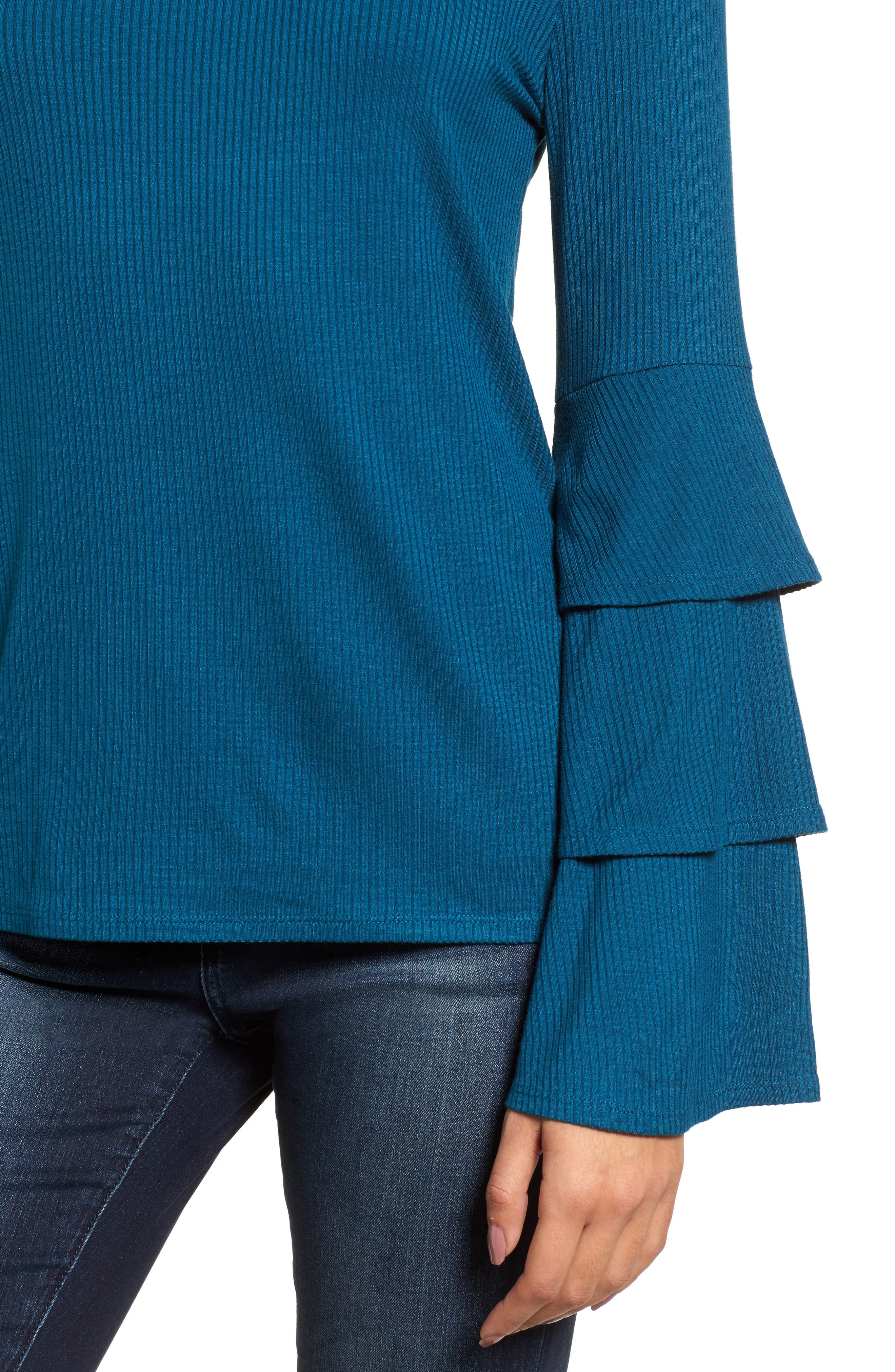 Ruffle Sleeve Ribbed Sweater,                             Alternate thumbnail 15, color,