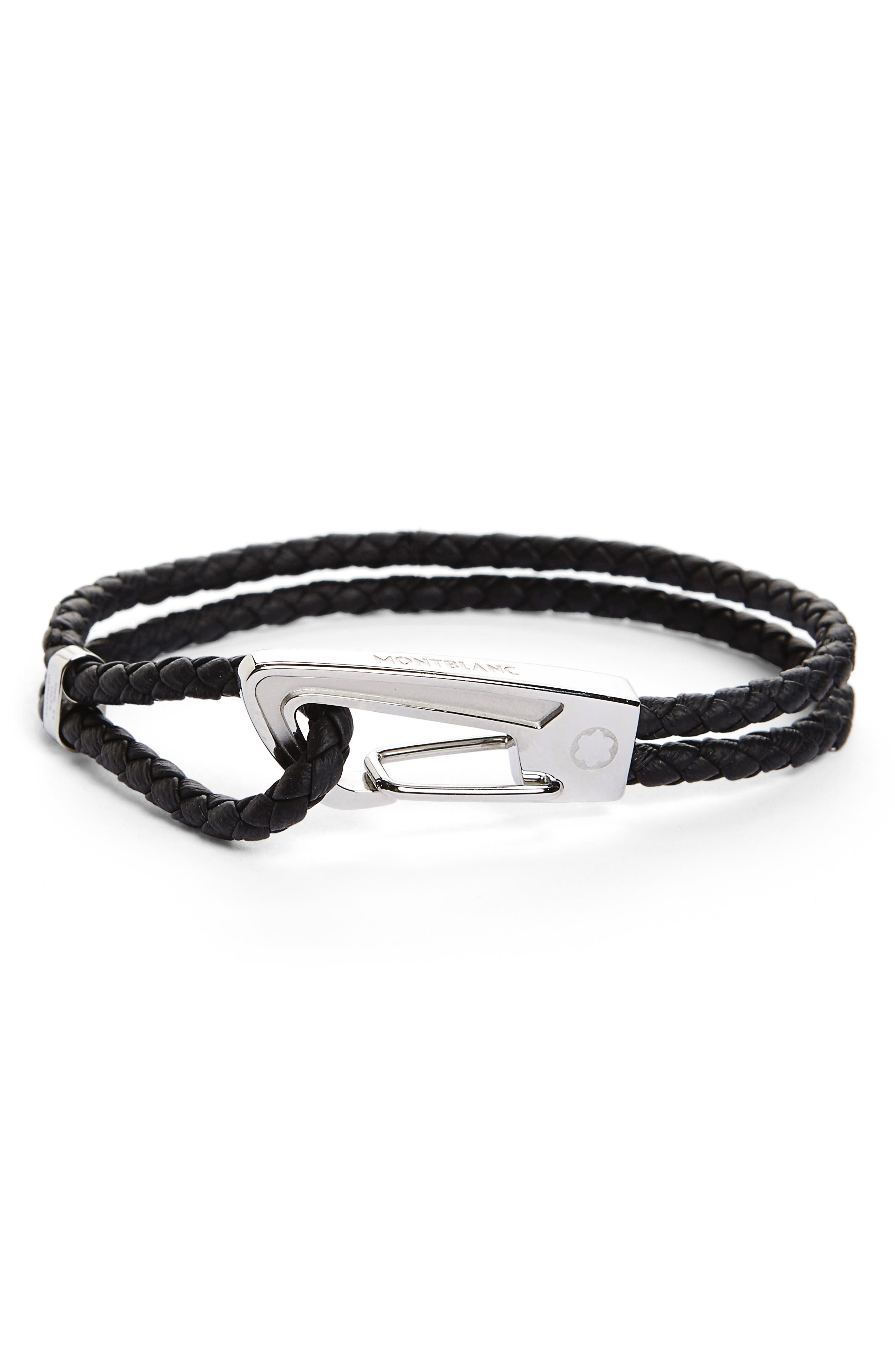 Braided Leather Bracelet,                             Main thumbnail 1, color,                             BLACK