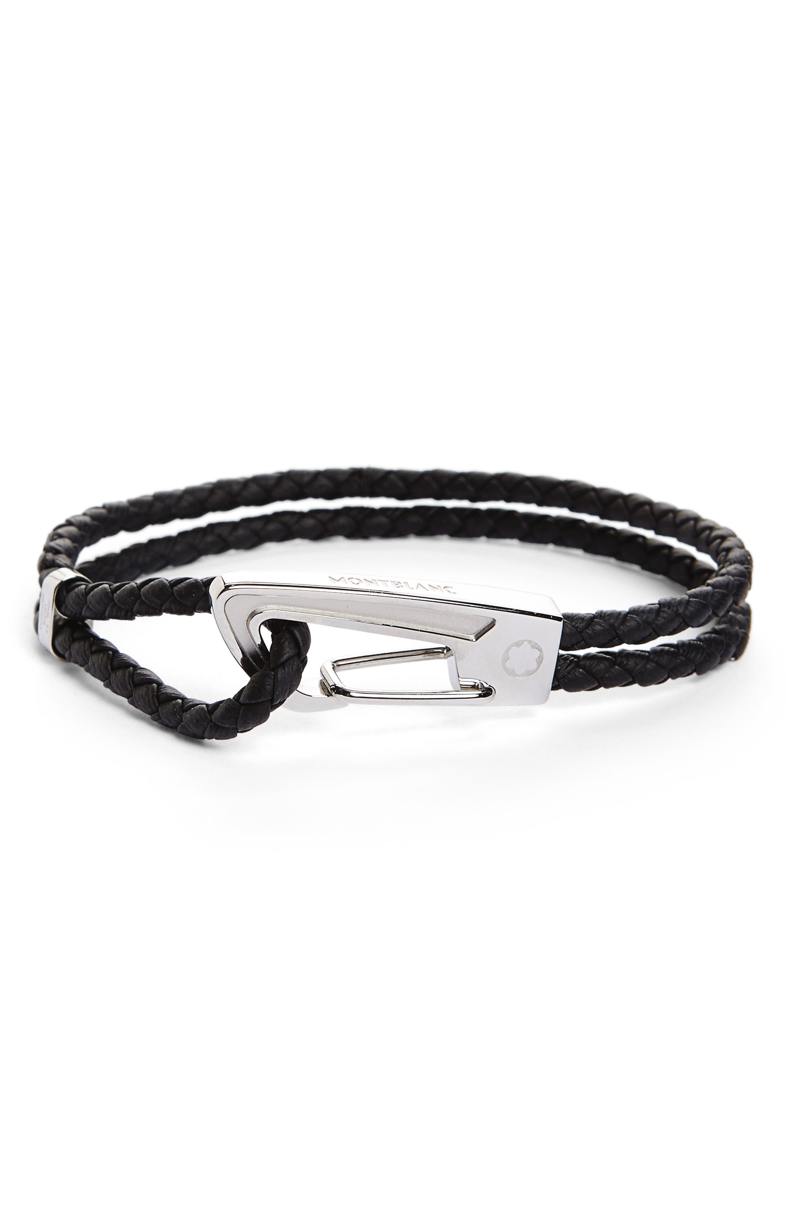 Braided Leather Bracelet,                         Main,                         color, BLACK