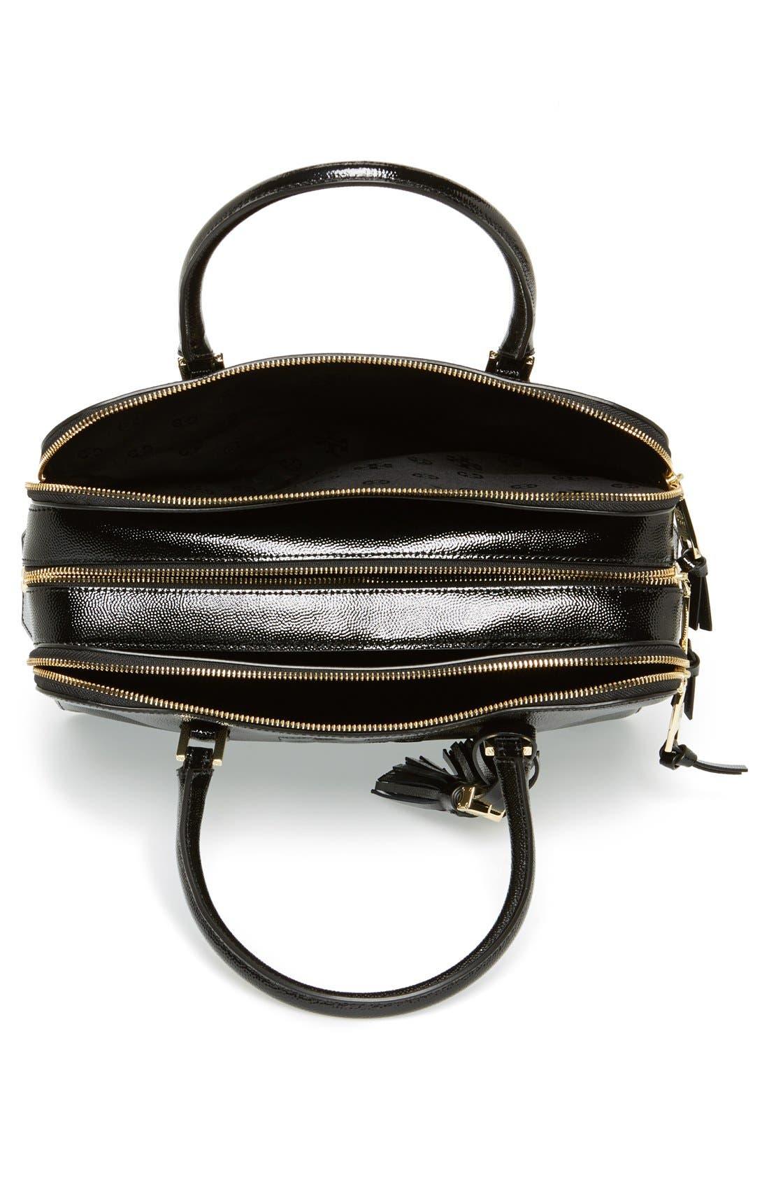 'Thea' Patent Leather Triple Zip Satchel,                             Alternate thumbnail 4, color,                             001